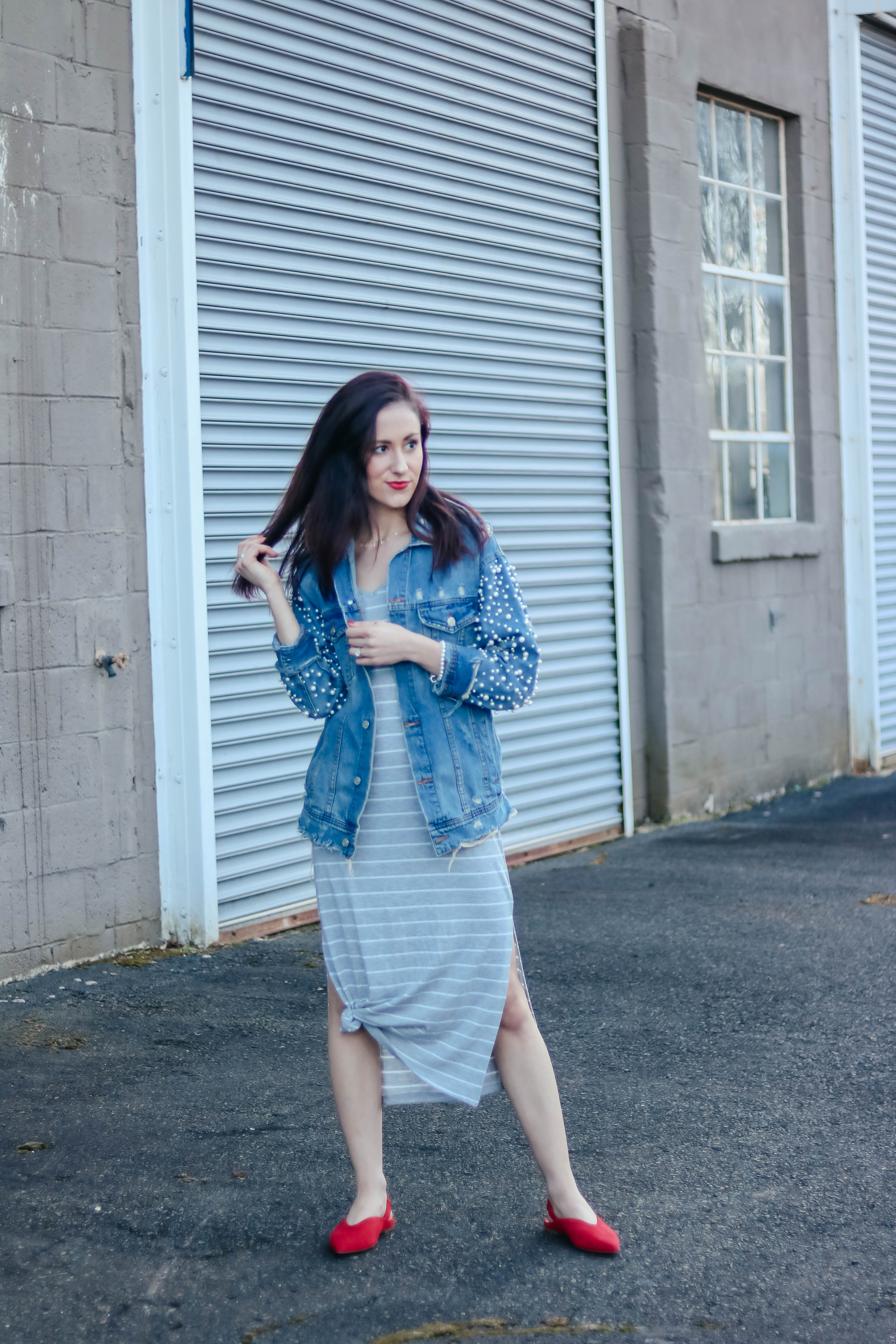 CURRENTLY I'M... Pearl jean jacket and striped midi dress - casual spring style on Coming Up Roses