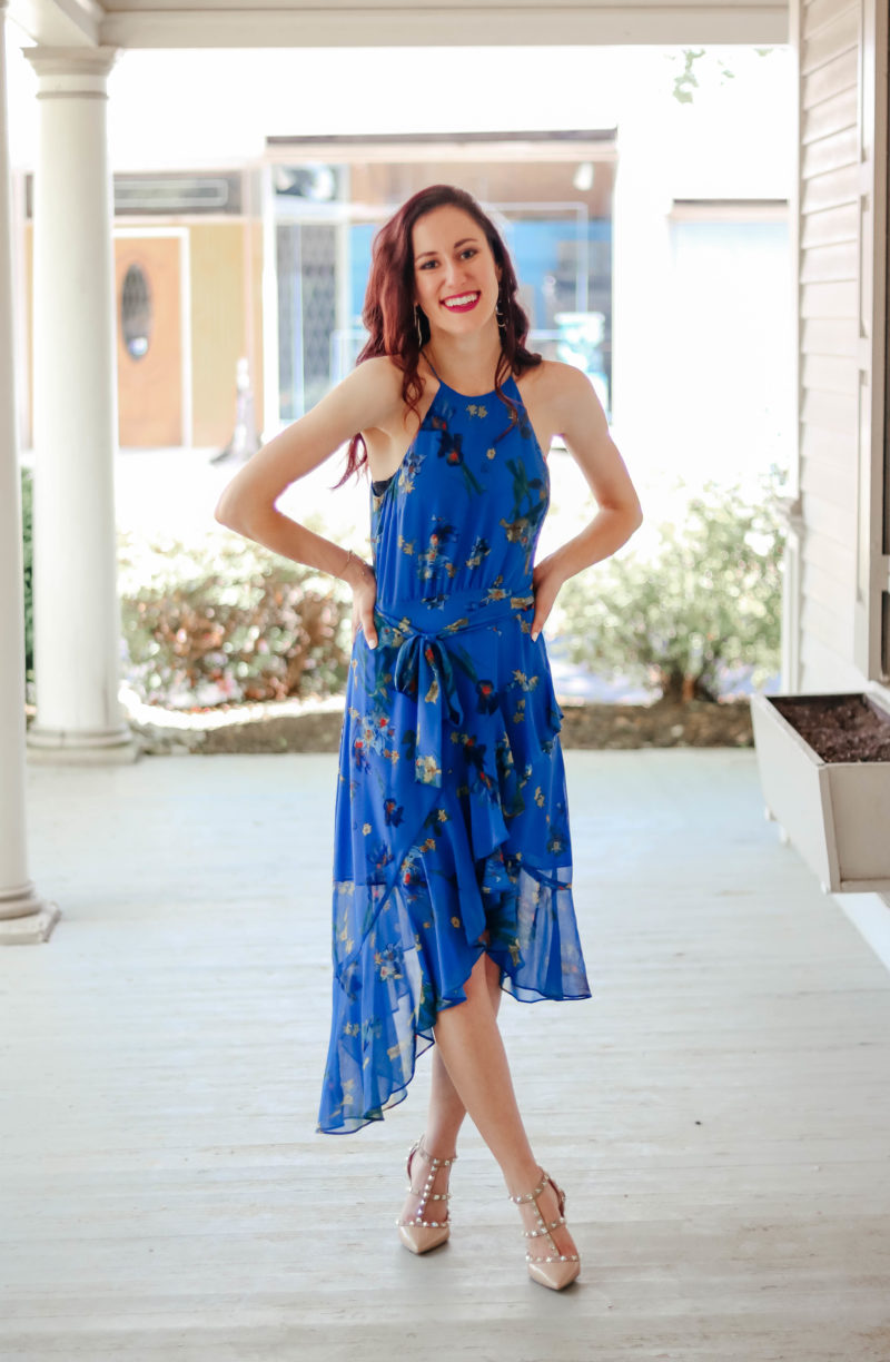 What to Wear to a Summer Wedding - This blue, floral watercolor dress is perfect if you're a summer wedding guest in need of a dress! + Valentino Rockstud dupes on Coming Up Roses