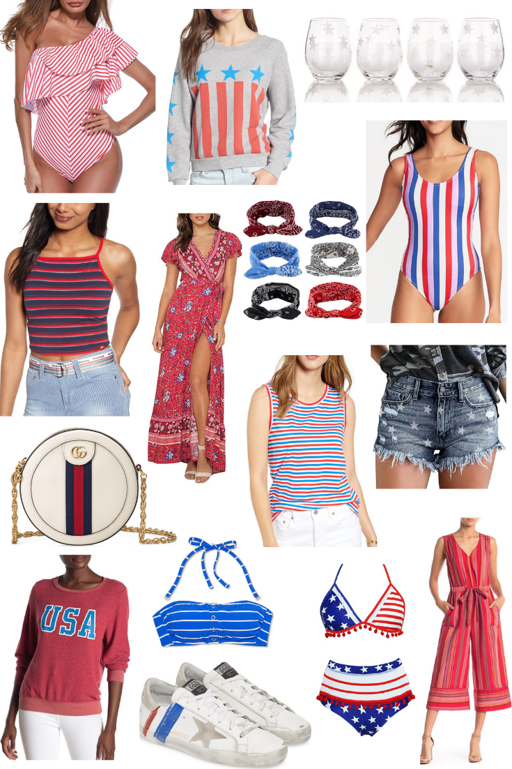 Patriotic picks for the 4th of July - Red, white, and blue clothing, swimsuits and accessories on Coming Up Roses!