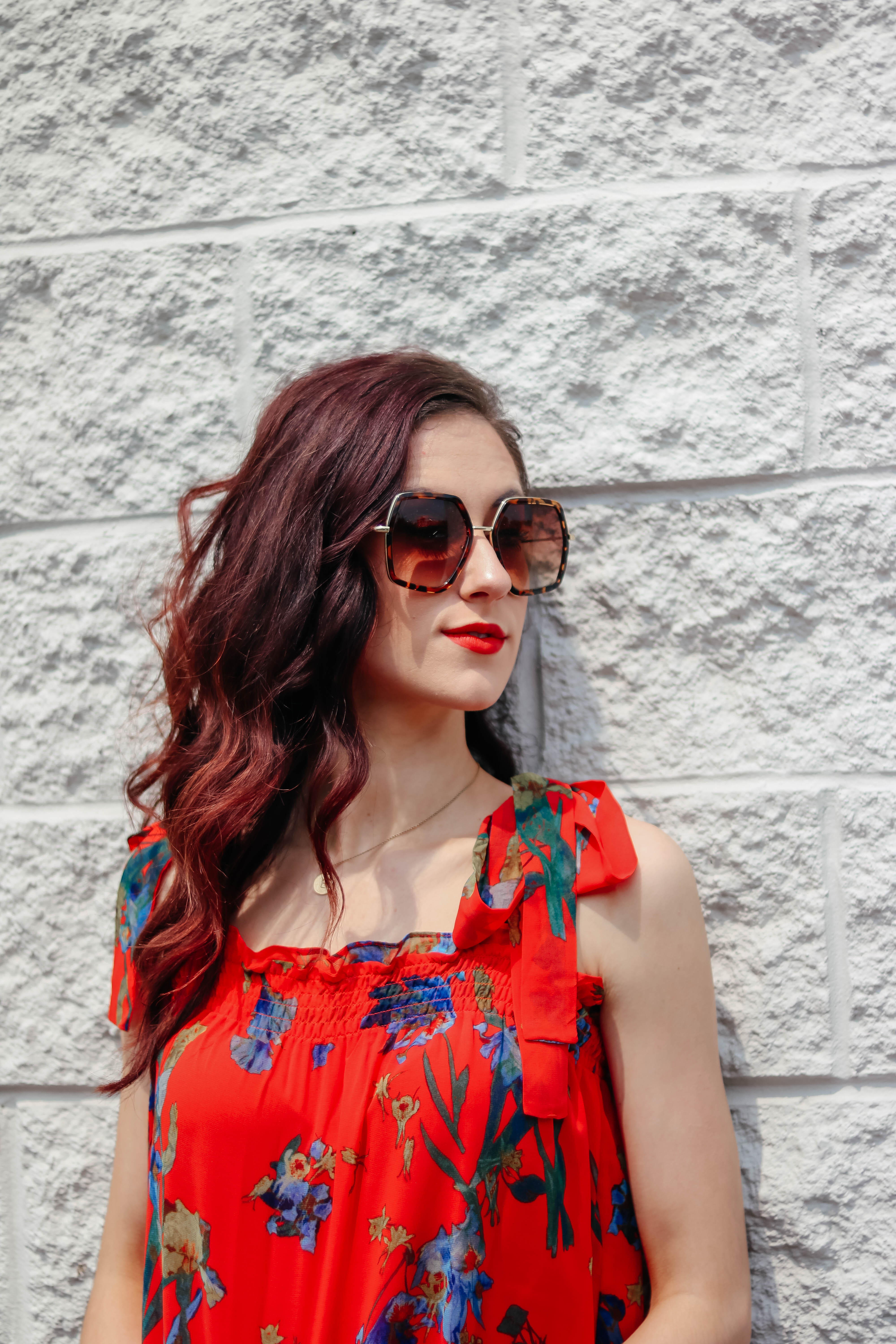 Red Watercolor Tank Top Outfit for Summer - #AskE Q&A Post on Coming Up Roses, featuring Tula discount code, Lululemon versus Spanx, + MORE!