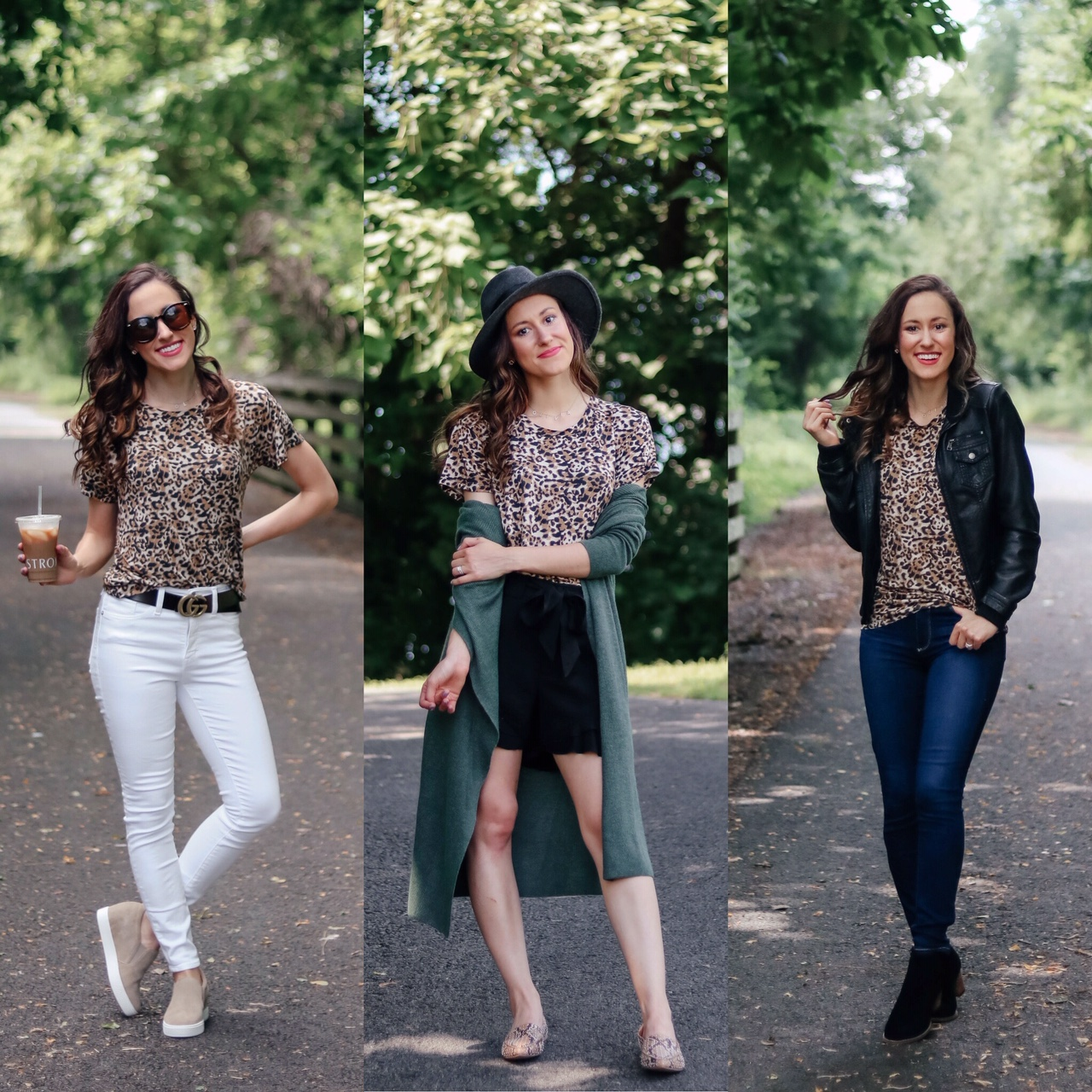 1 Thing, 3 Ways: LEOPARD T-SHIRT. Styling this fun leopard tee three different ways for the season - and it's ON SALE! - on Coming Up Roses