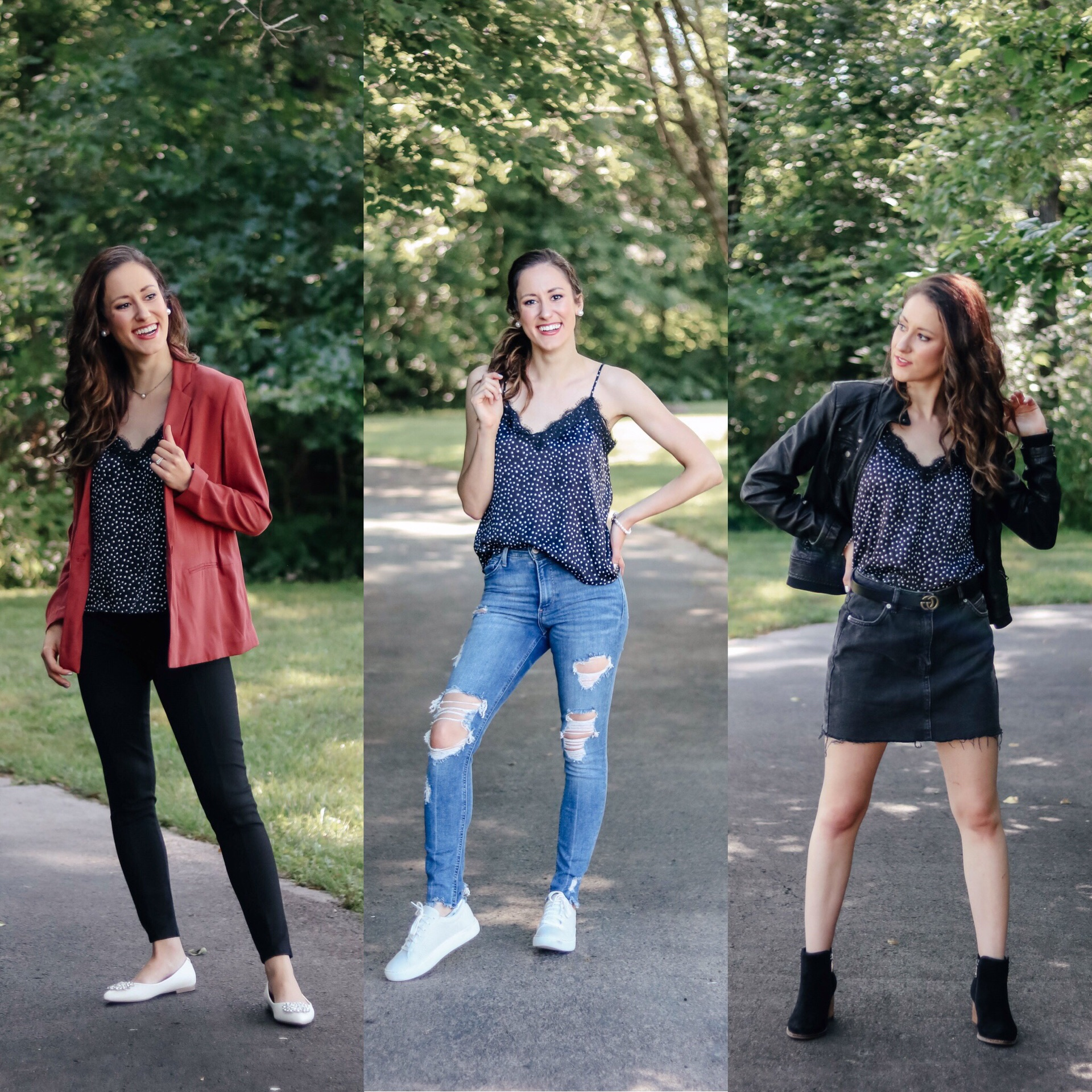 1 Thing, 3 Ways: LACE CAMISOLE outfit ideas on Coming Up Roses