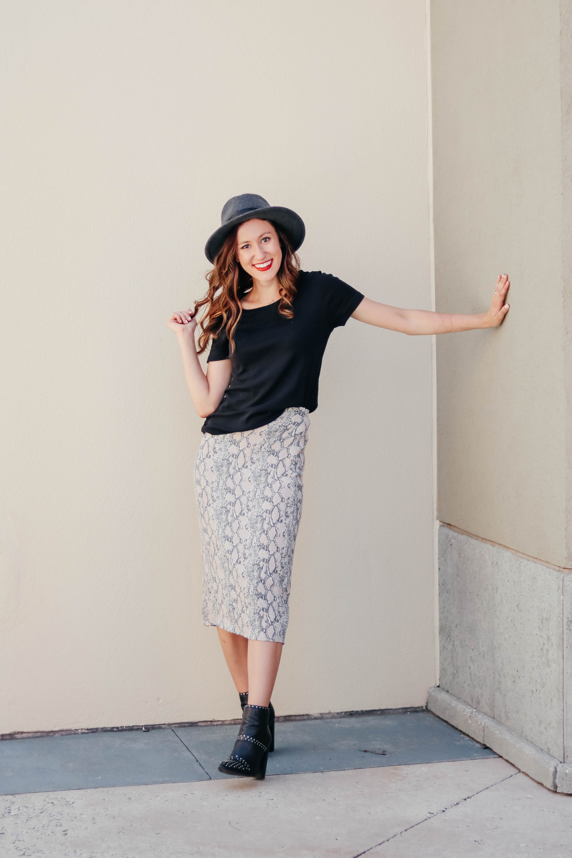Snakeskin midi skirt outfit for fall - #AskE Q&A post on Coming Up Roses talking about shoe shelves, working at home with a baby, tall fall boots under $50, Tula discount code, + MORE