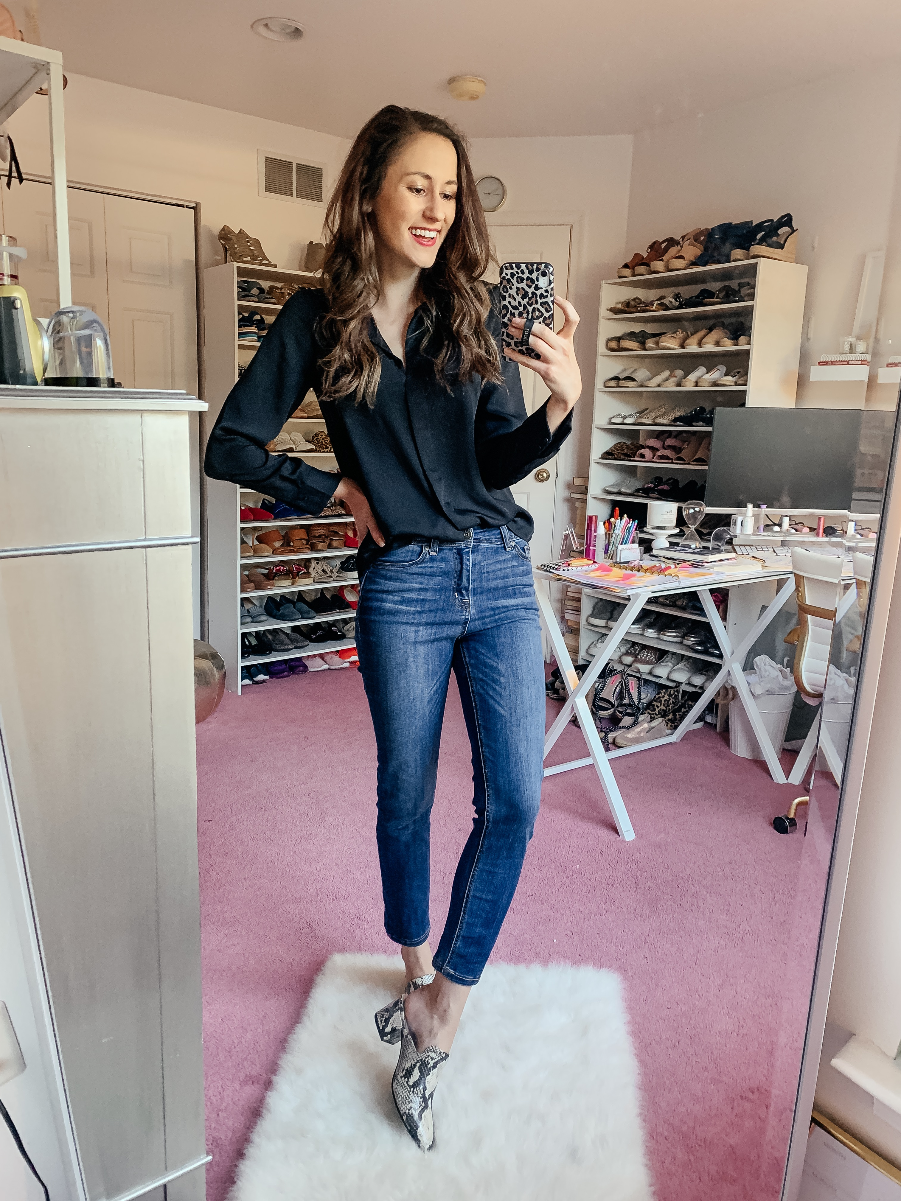 WALMART FALL HAUL - Everything under $35!!! - snakeskin mules fall outfit on Coming Up Roses