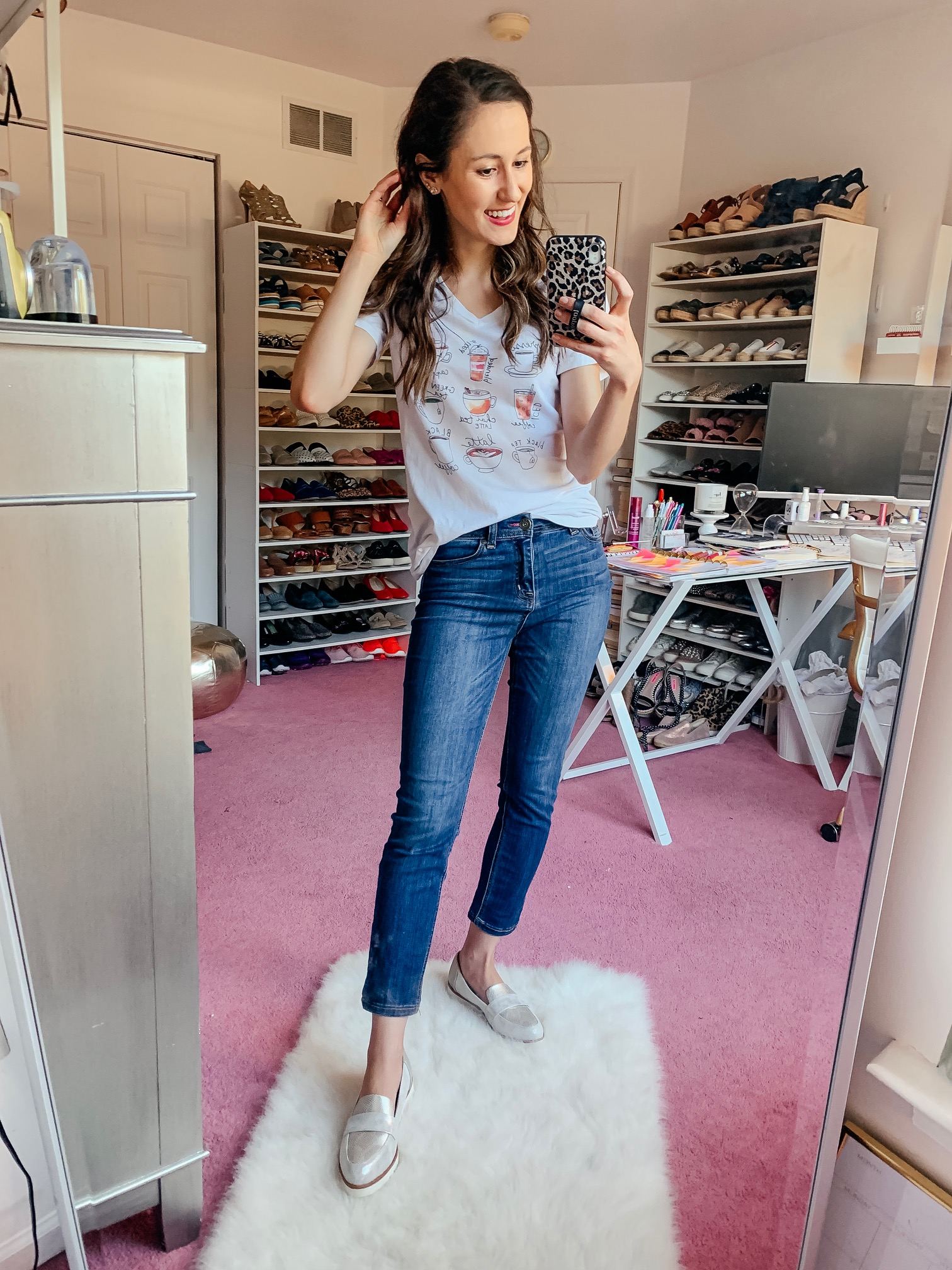 WALMART FALL HAUL - Everything under $35!!! - metallic wedge loafers easy casual fall outfit on Coming Up Roses
