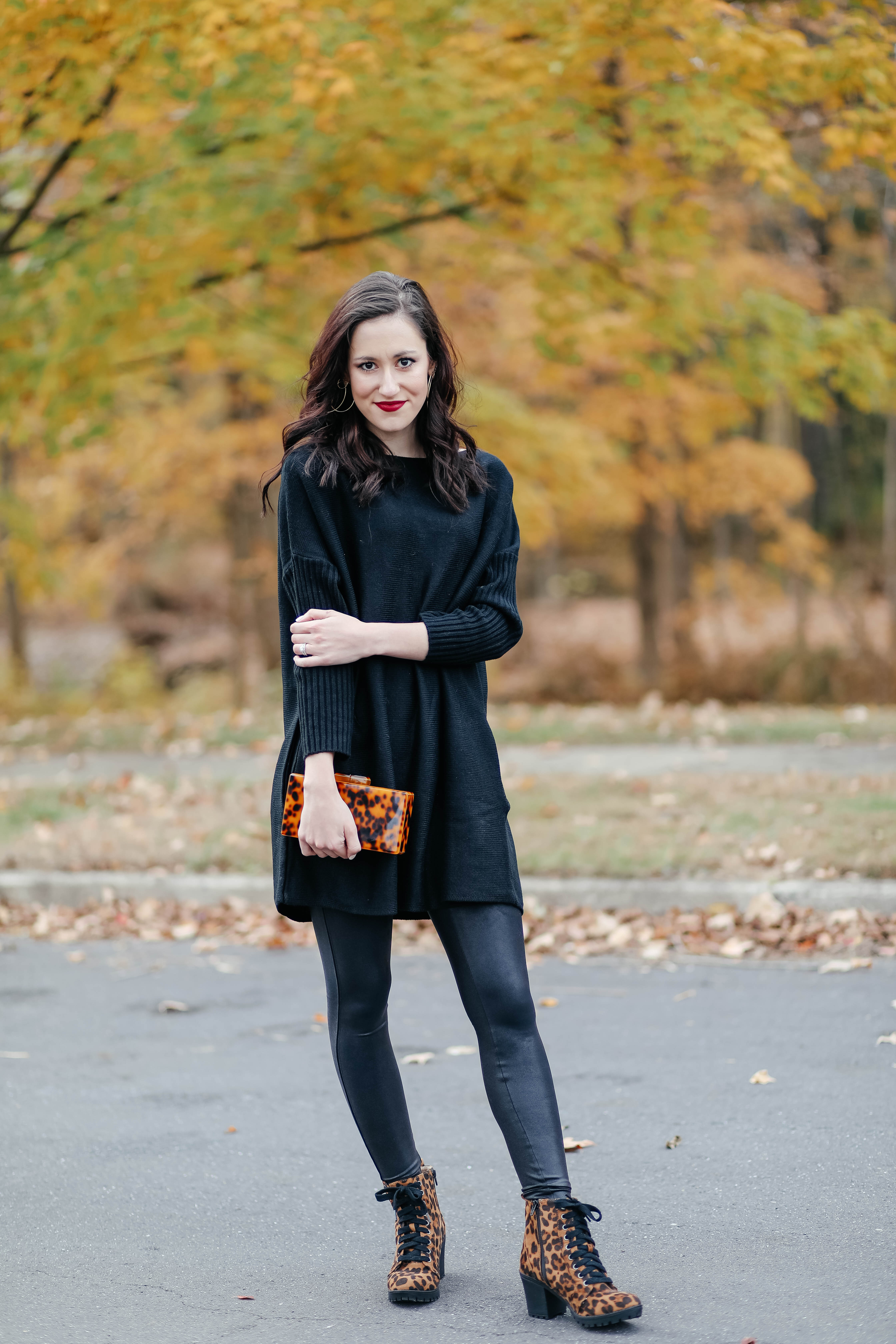 1 Thing, 3 Ways: SPANX LEATHER LEGGINGS - Spanx leather leggings outfit inspiration on Coming Up Roses!