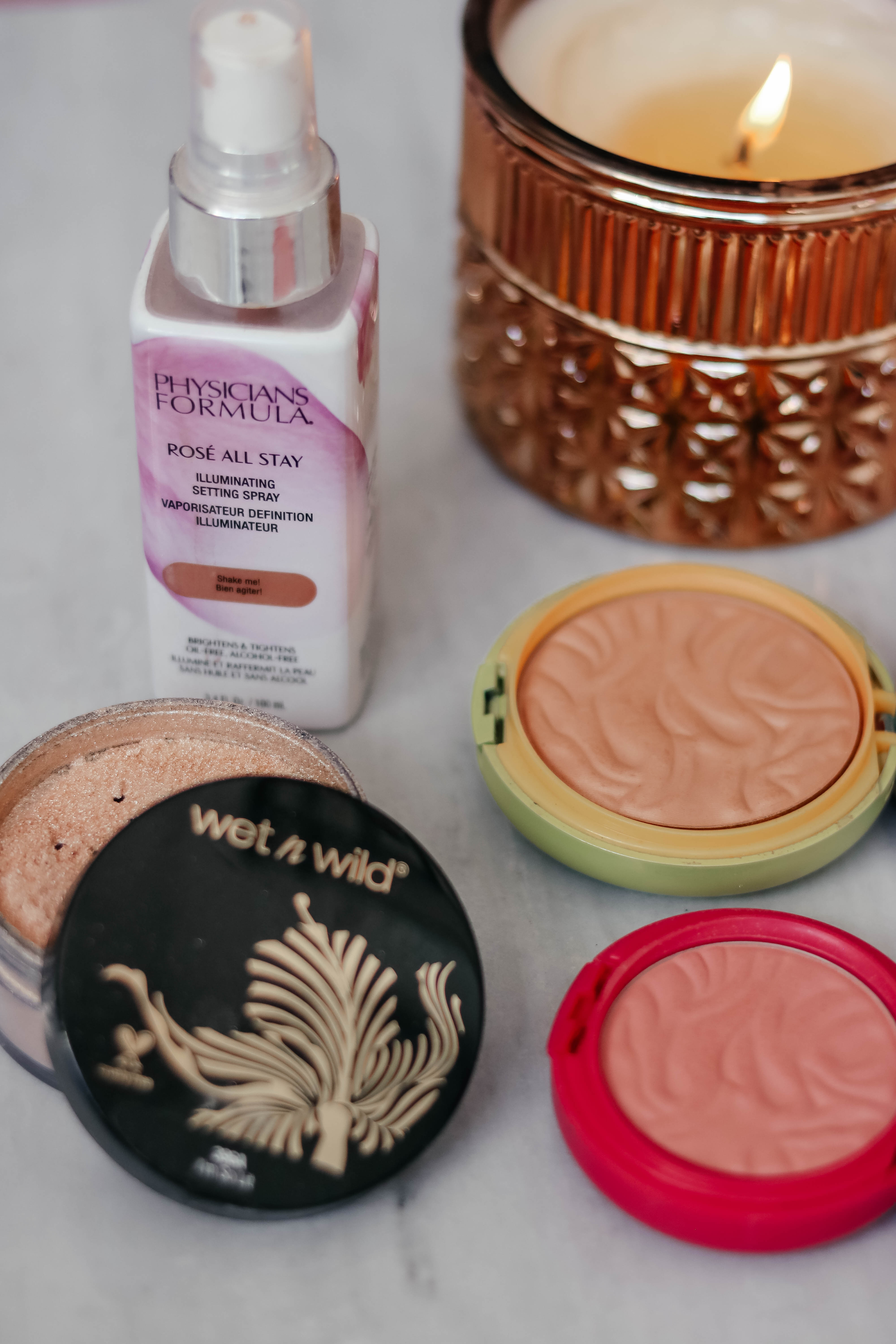 drugstore blush, drugstore contour, drugstore highlight - Wet n' Wild, Physicians Formula products on Coming Up Roses
