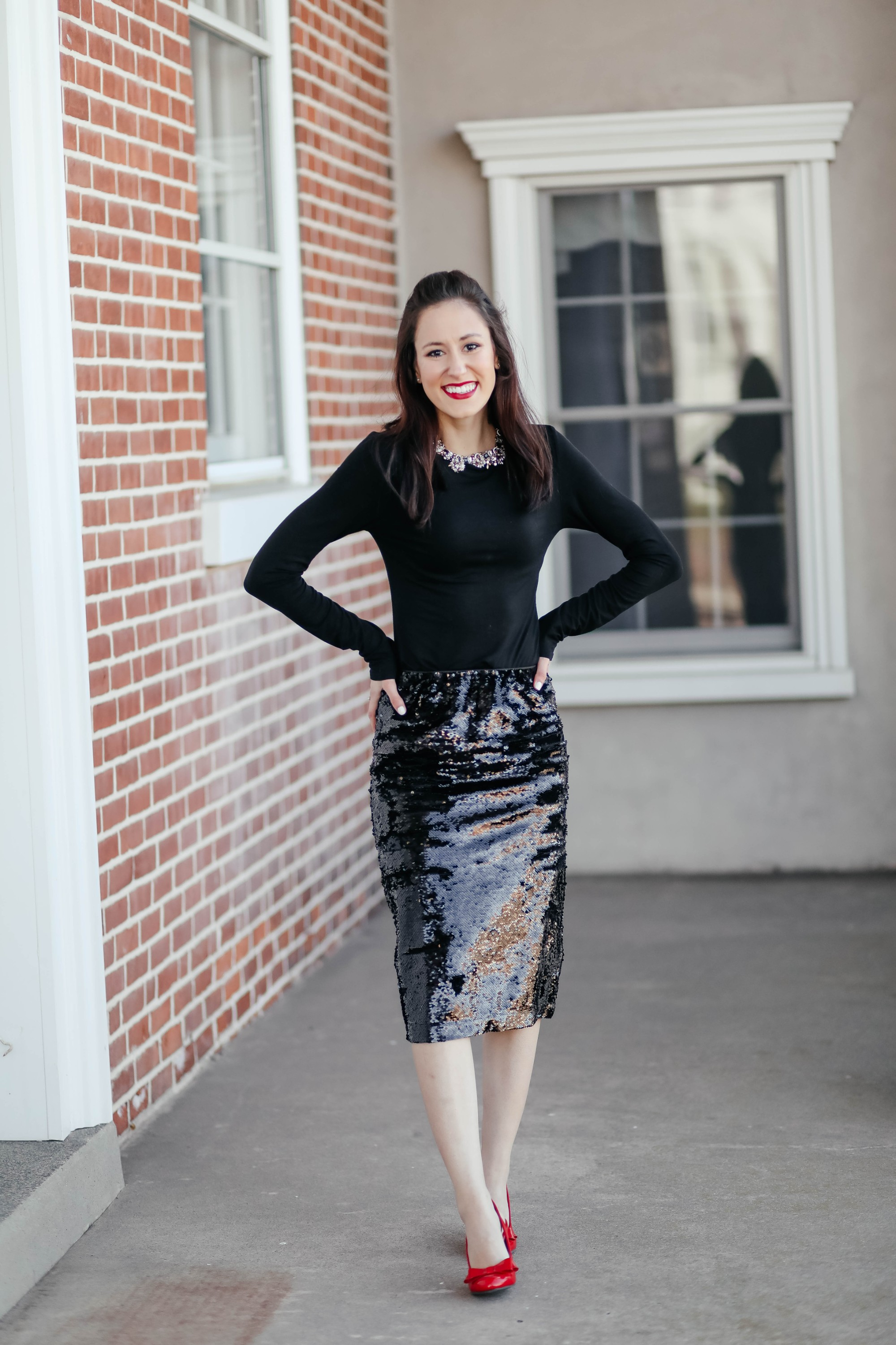 3 WAYS TO WEAR A SEQUIN MIDI SKIRT - 1 Thing, 3 Ways on Coming Up Roses, with an affordable Walmart find (this $39 skirt is perfect for the holidays!)
