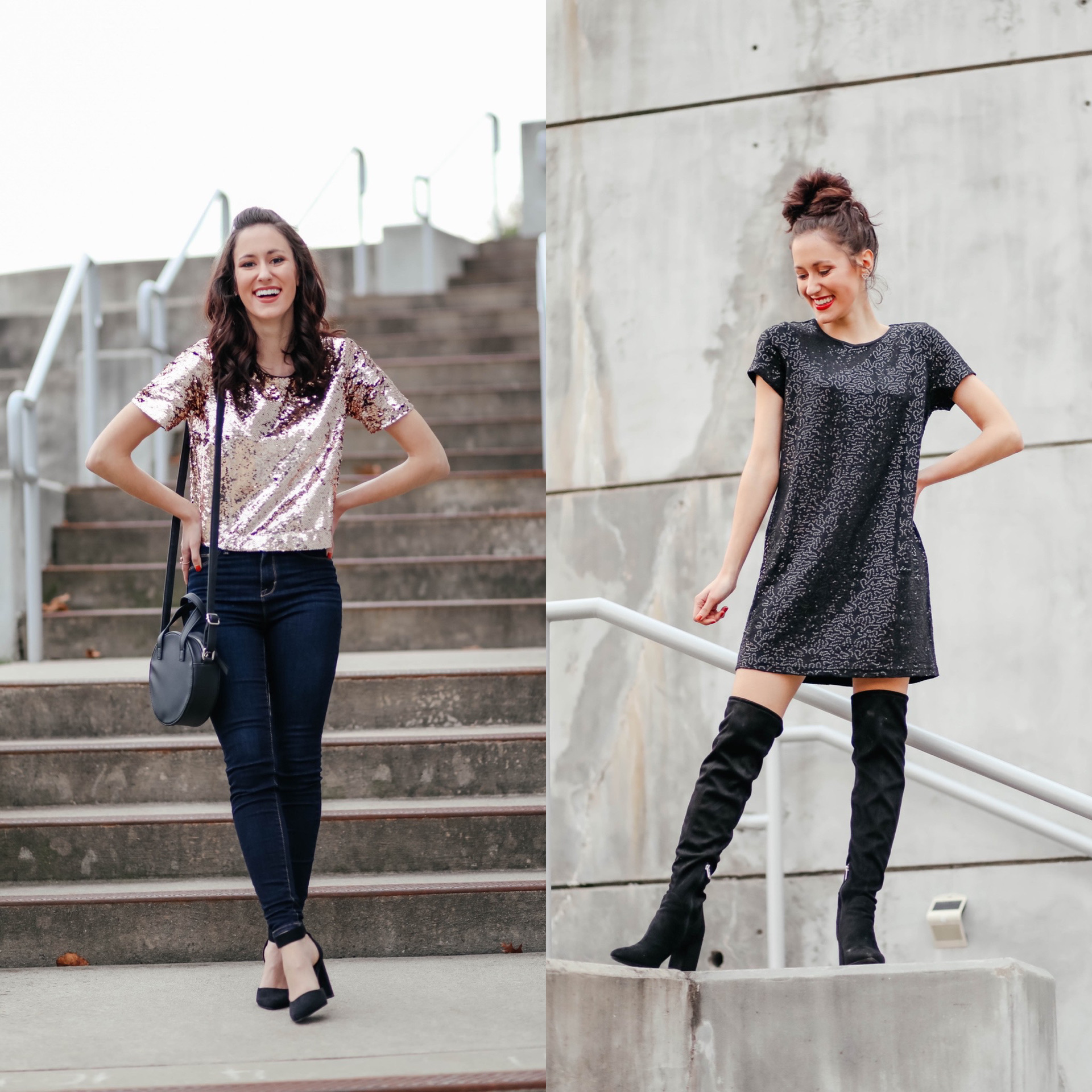 TWO Ways to Wear Sequins for the Holidays - Affordable Holiday Looks from Walmart on Coming Up Roses