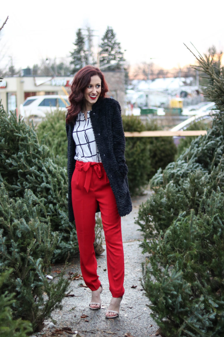 Christmas outfit and survey on Coming Up Roses