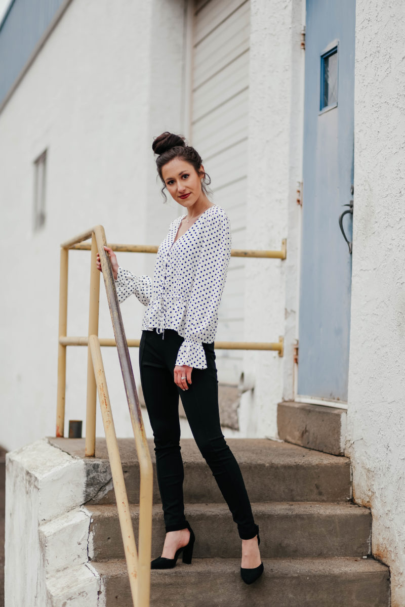 From Desk to Drinks: Polka Dots + Ponte Pants ($30 OUTFIT!!!)