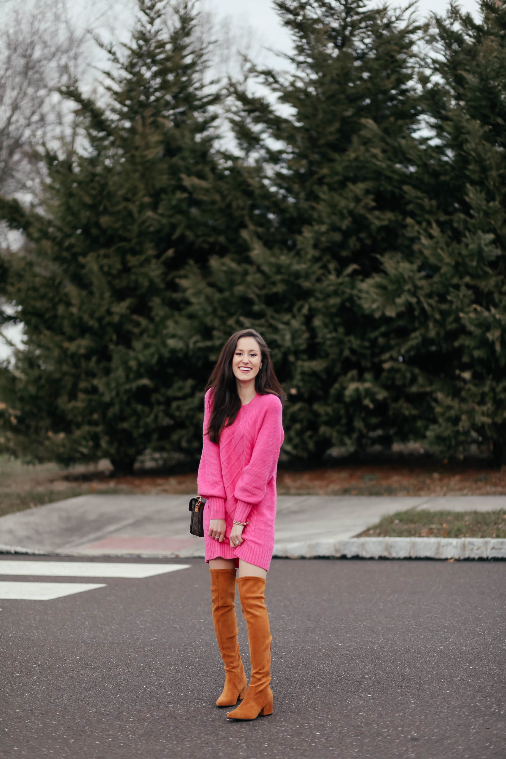 Pink Sweater Dress - Sweater Dress Outfit, American Eagle sweater dress, Goodnight Macaroon over-the-knee boots, #AskE Q&A post on Coming Up Roses