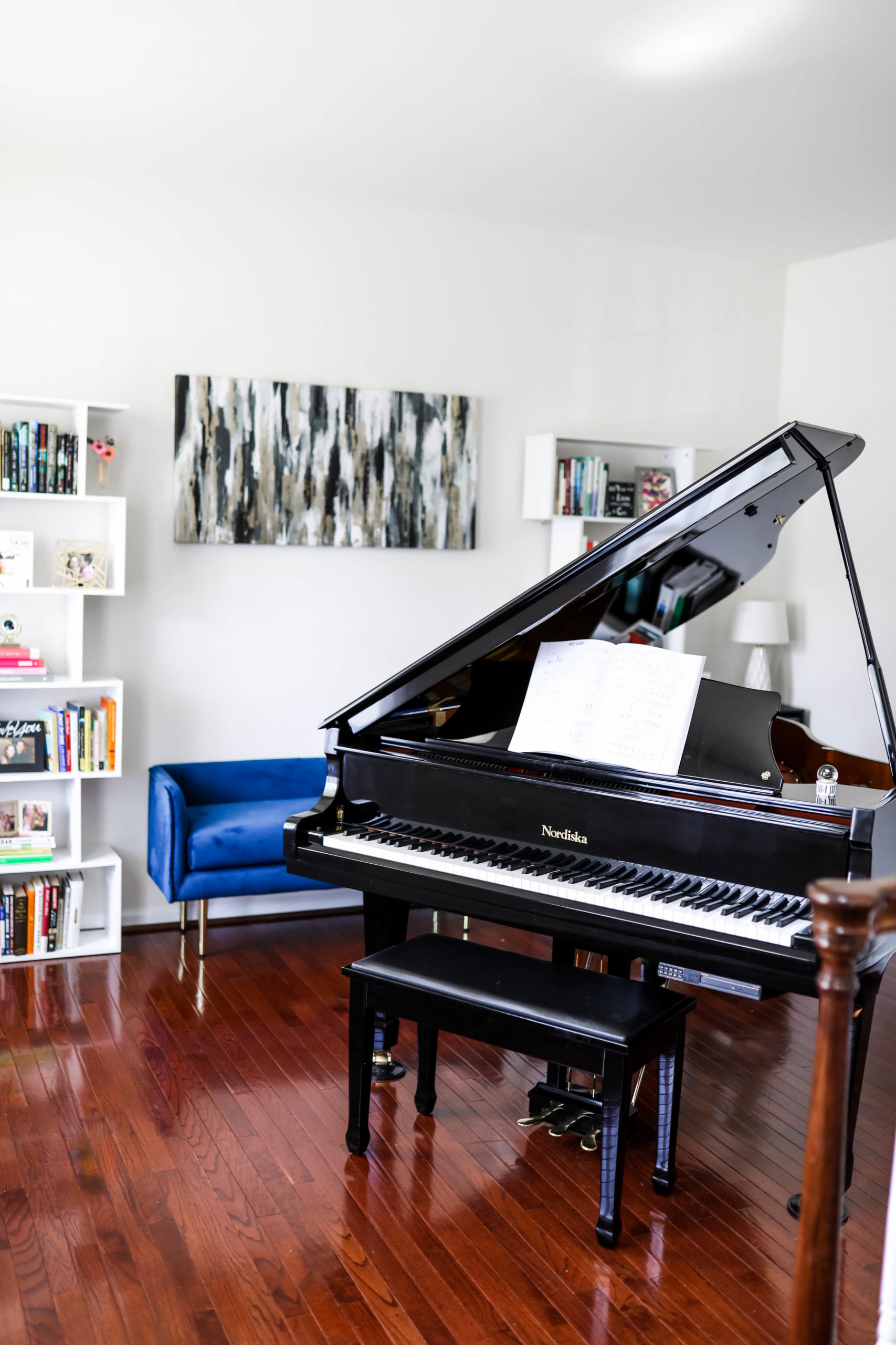 Black Piano in home library