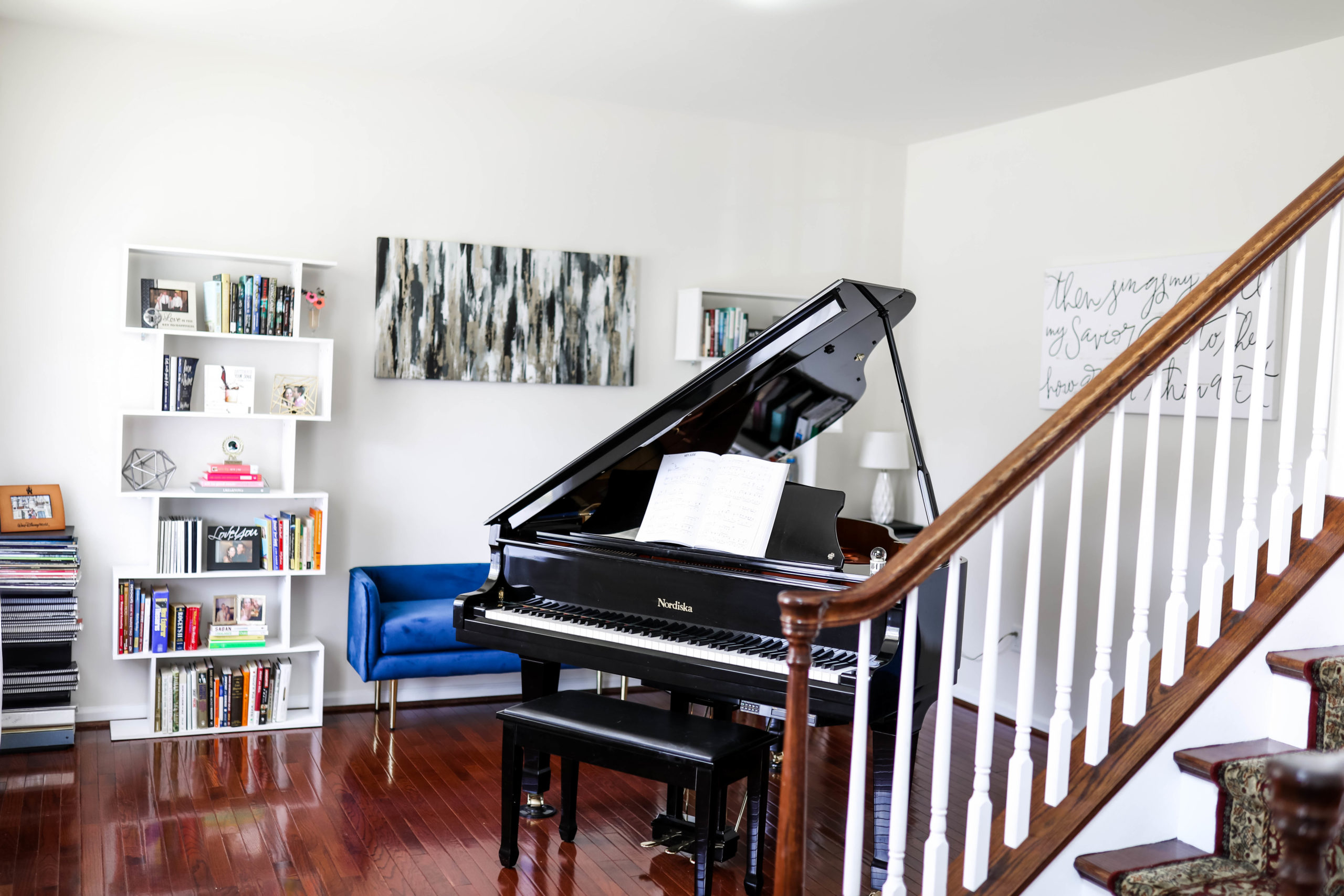 piano shown in home library