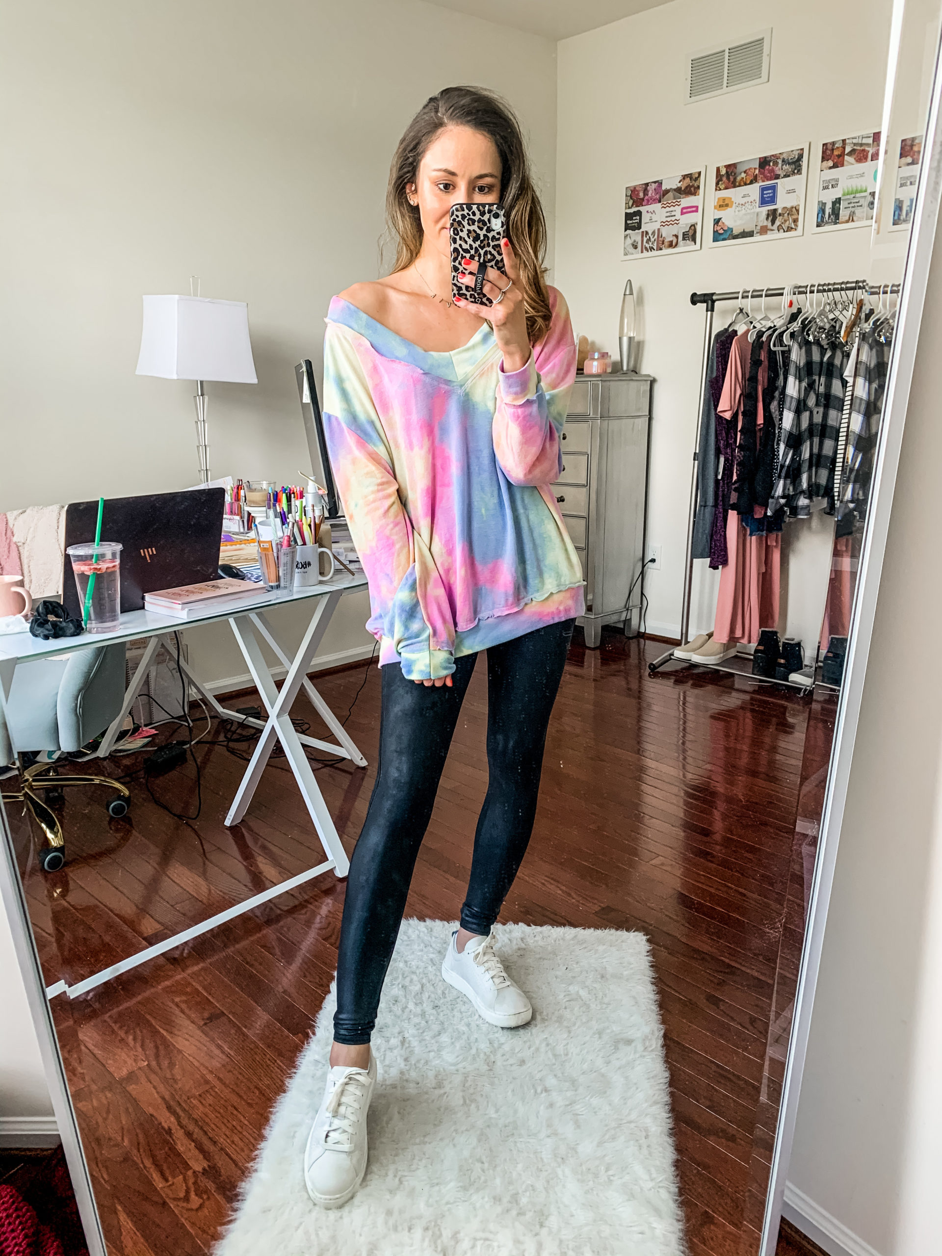 Styling Spanx Faux Leather Leggings with a tie dye top