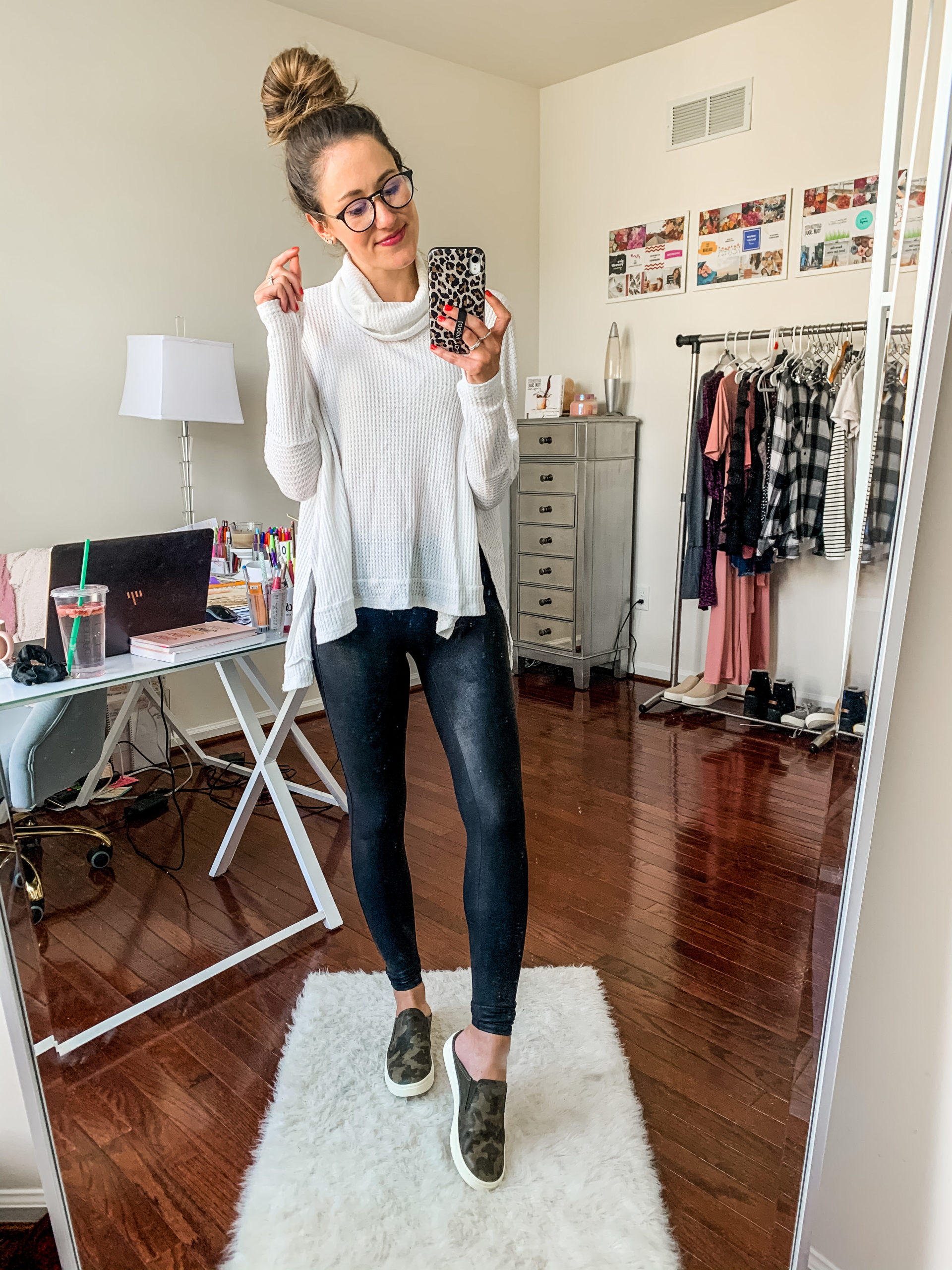 Styling Spanx Faux Leather Leggings with a turtle neck