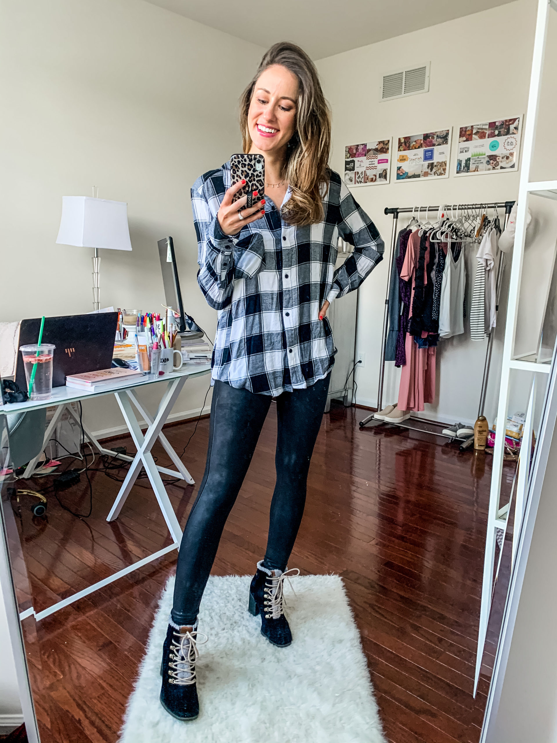 Styling Spanx Faux Leather Leggings with a flannel and booties