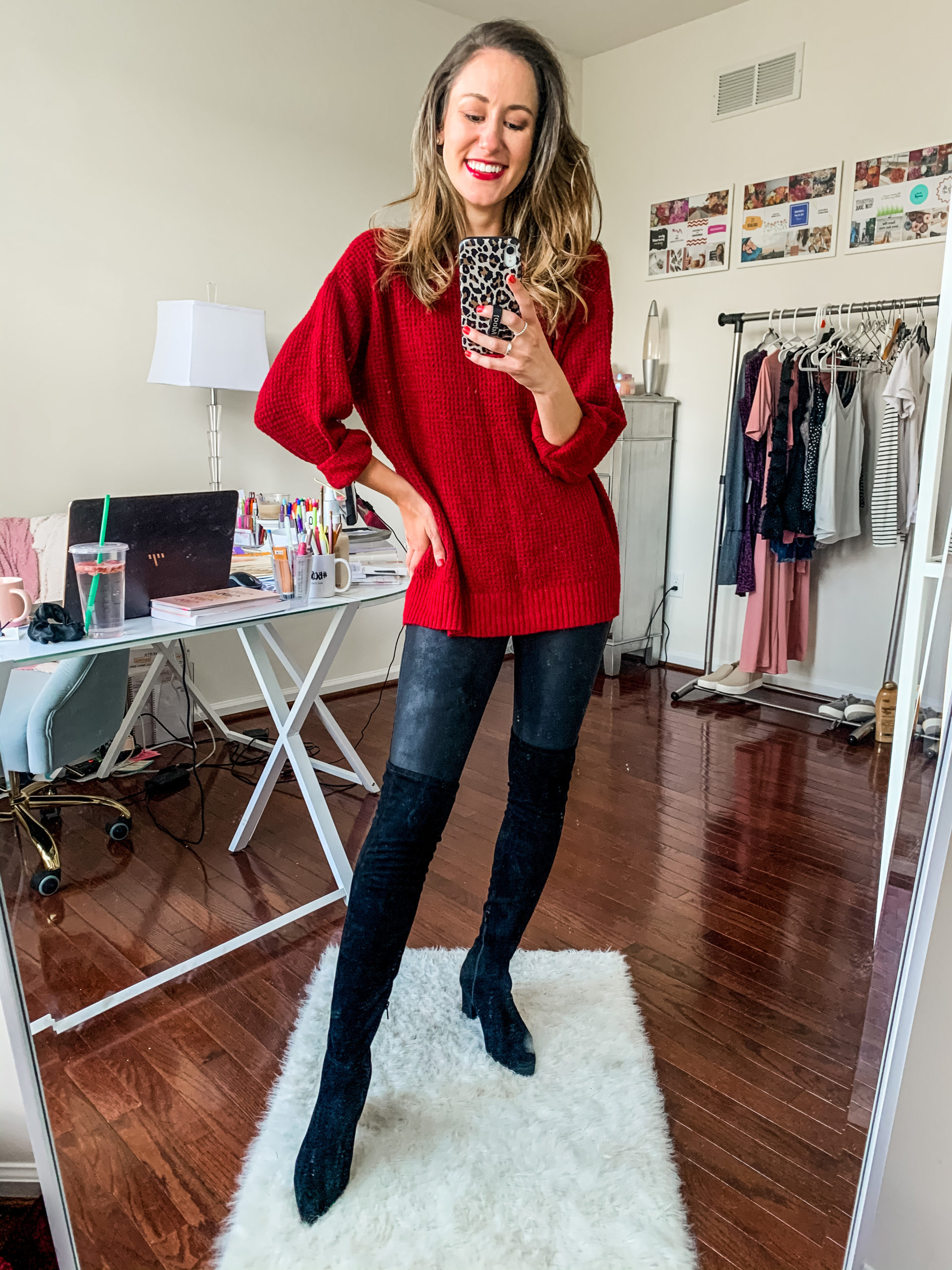 Styling Spanx Faux Leather Leggings with a sweater and over the knee boots