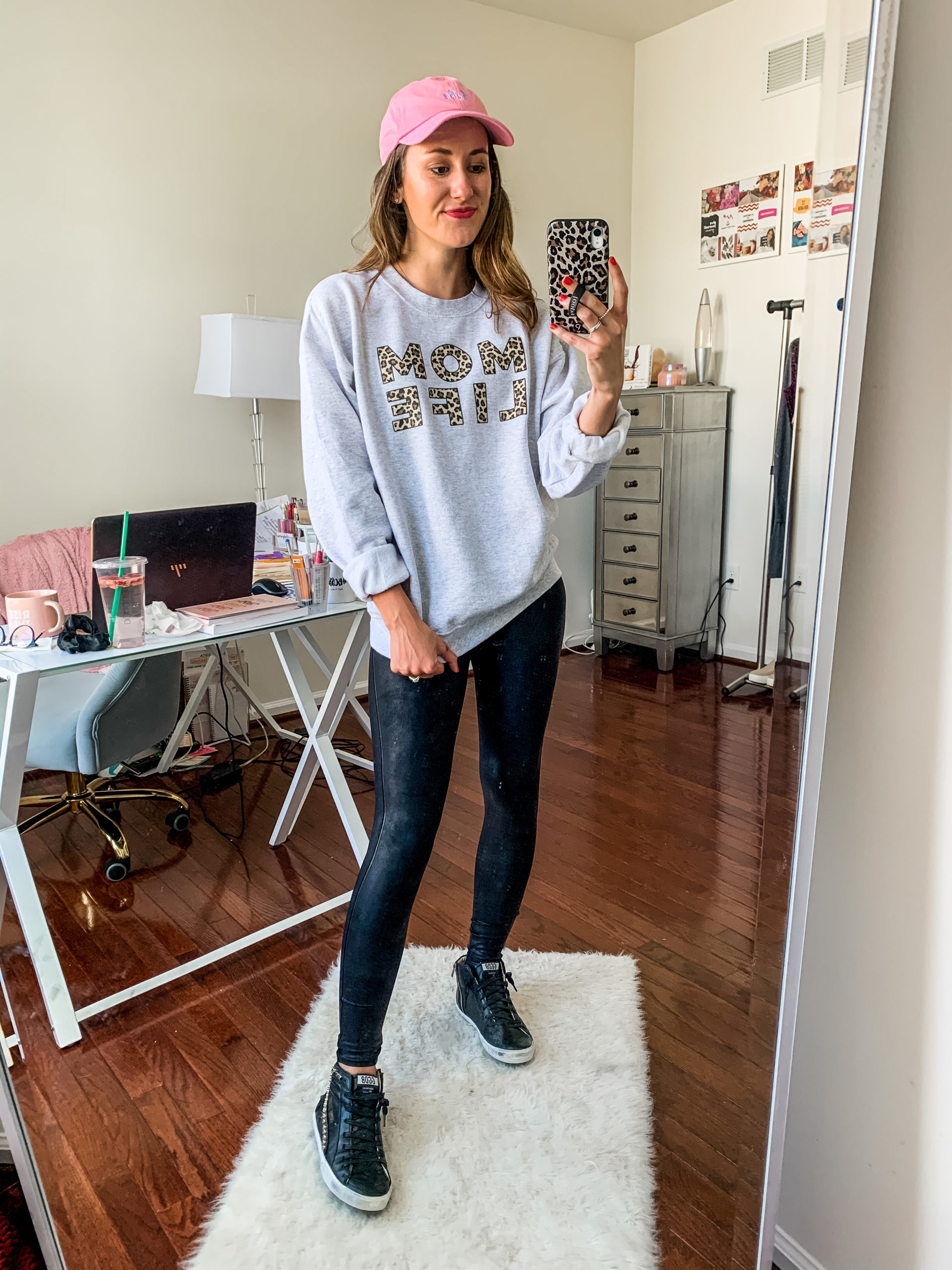 Styling Spanx Faux Leather Leggings with a sweatshirt
