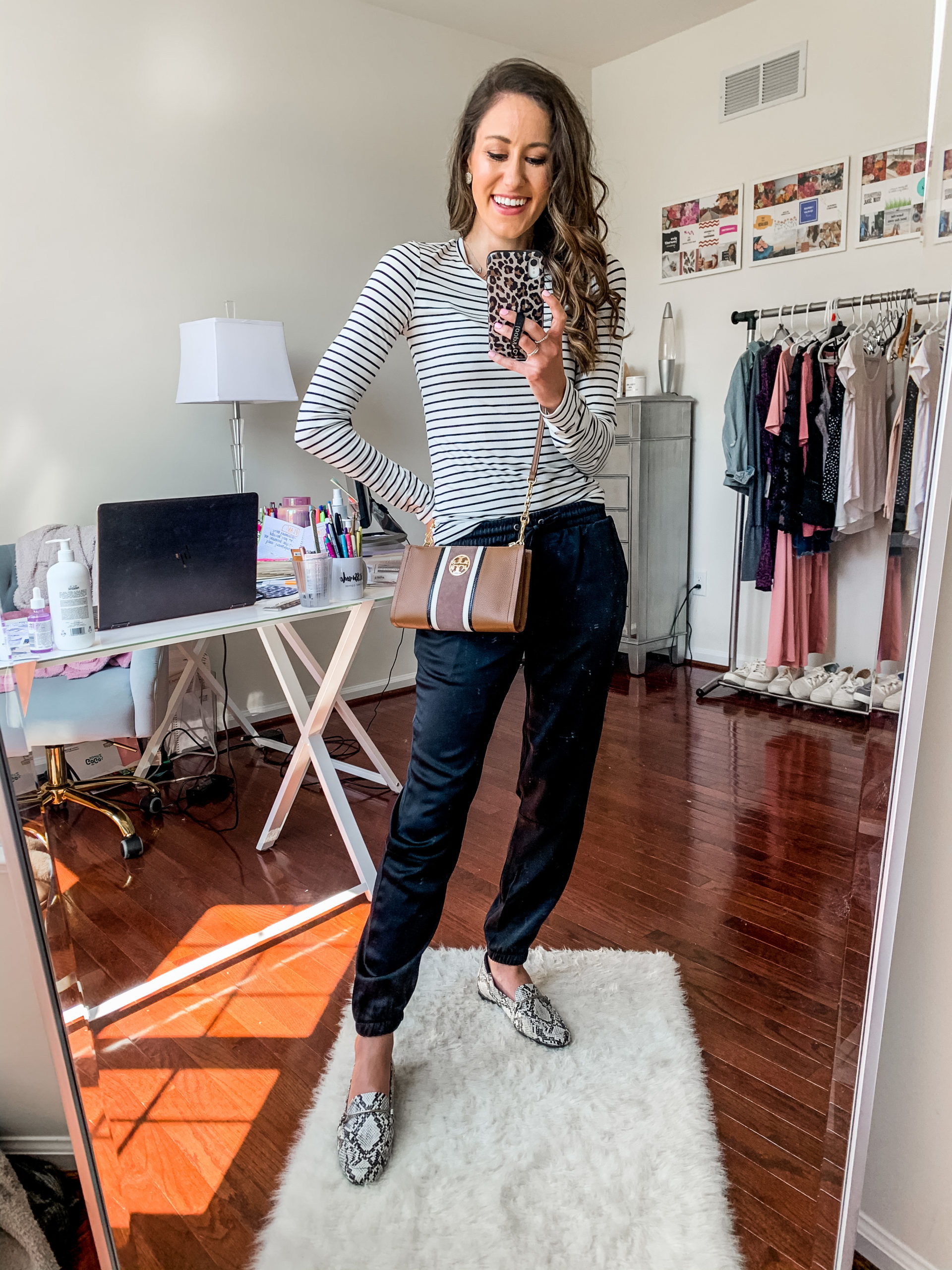 satin joggers + striped tee outfit - NORDSTROM ANNIVERSARY SALE - Try-on Haul with Hits AND MISSES on Coming Up Roses