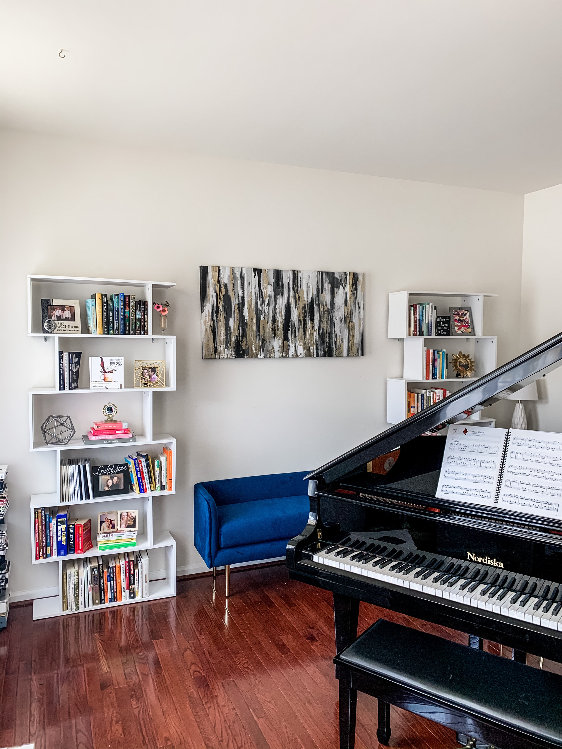 NEW HOUSE TOUR: Piano Room! Our music space + home library, on Coming Up Roses