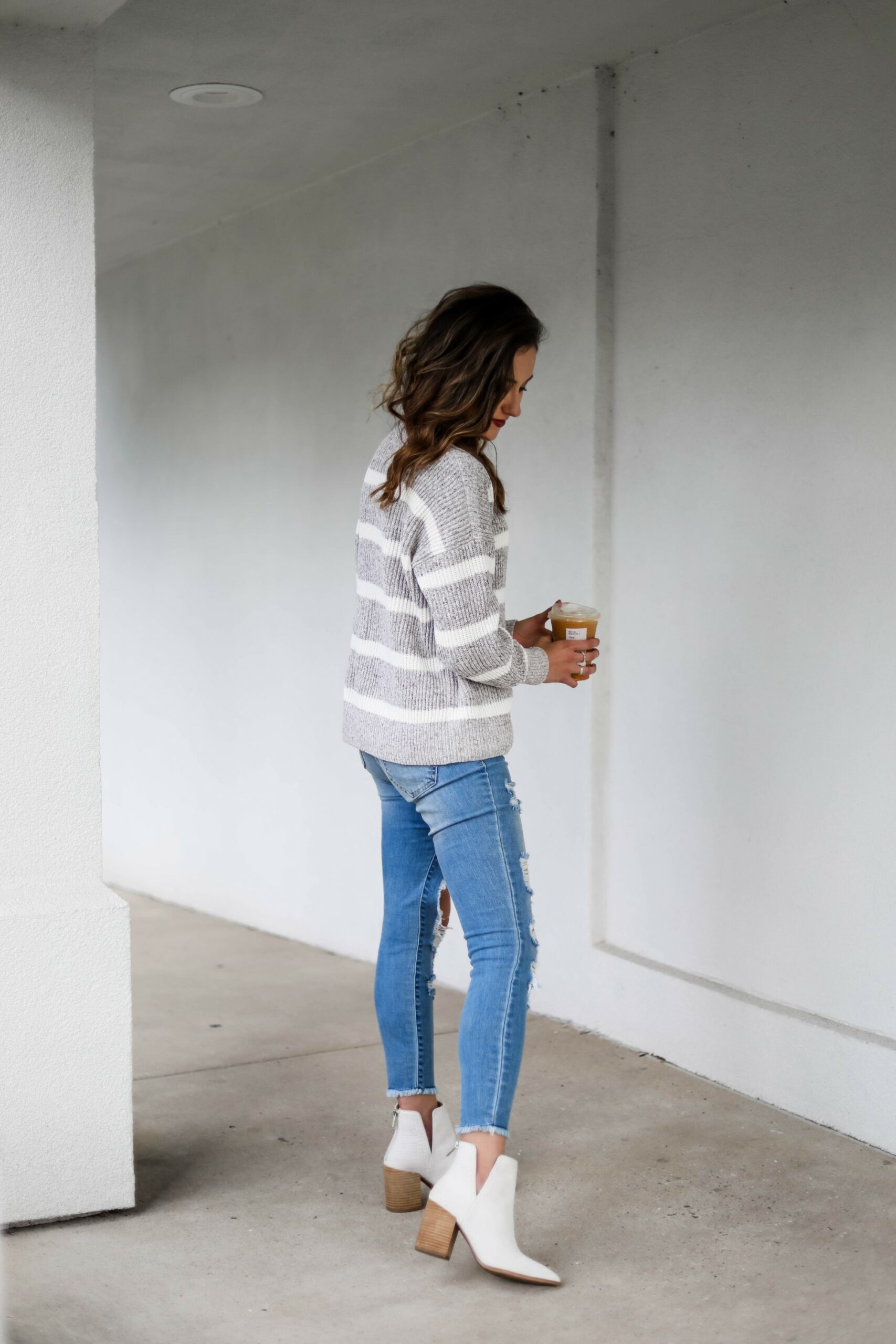 White booties outfit fall -on Coming Up Roses