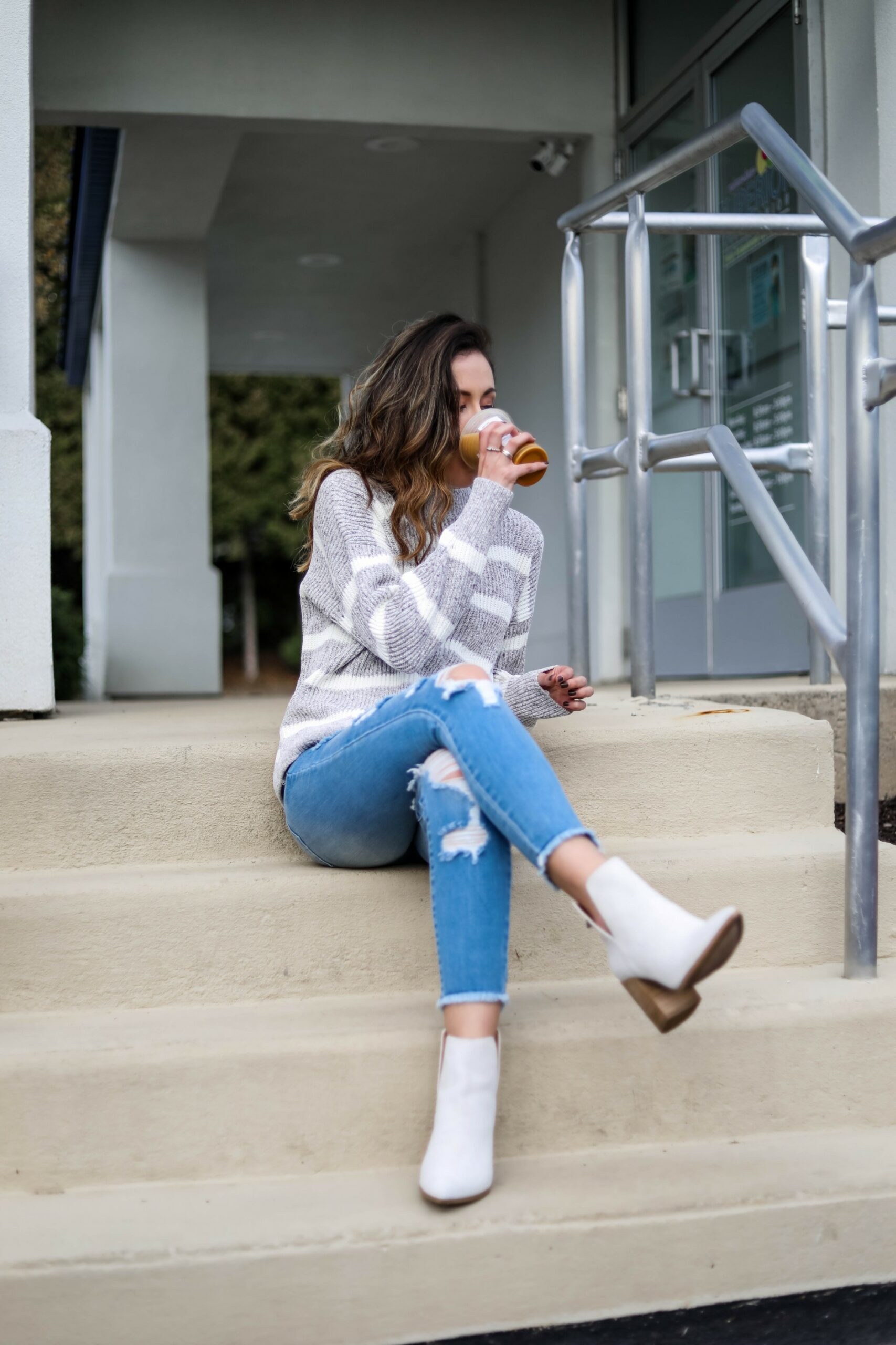 White booties with jeans -on Coming Up Roses
