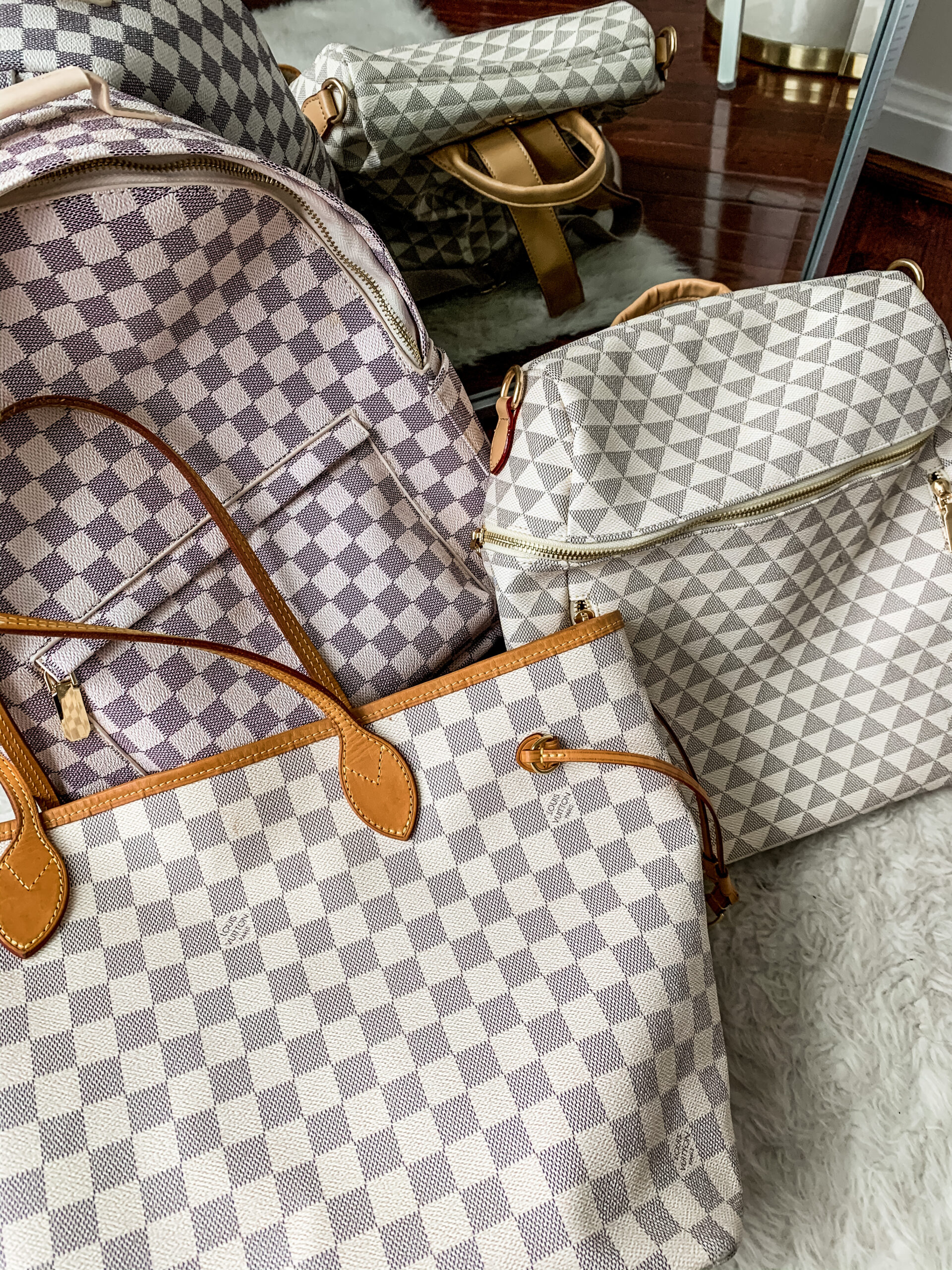 The Best LOUIS VUITTON DUPES - Louis Vuitton Damier look for less on Coming Up Roses
