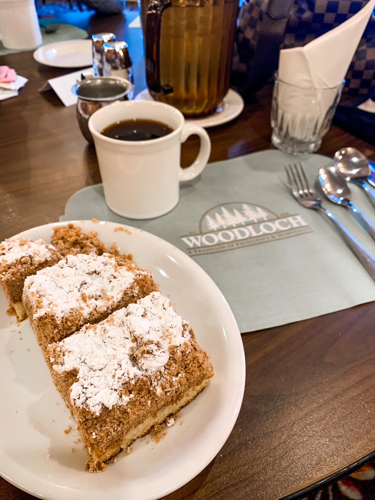 THE WOODLOCH RESORT crumb cake - Resort Review + Trip Recap on Coming Up Roses