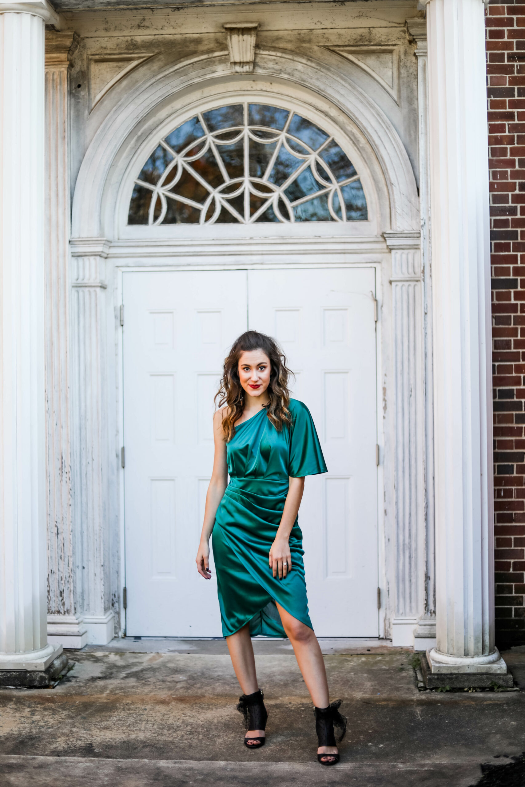 Fall wedding guest dress UNDER $50 - green wedding guest dress on Coming Up Roses