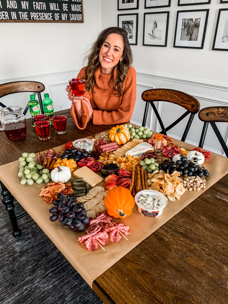 A Harvest Charcuterie Board + Cranberry Rum Bubbly Cocktail