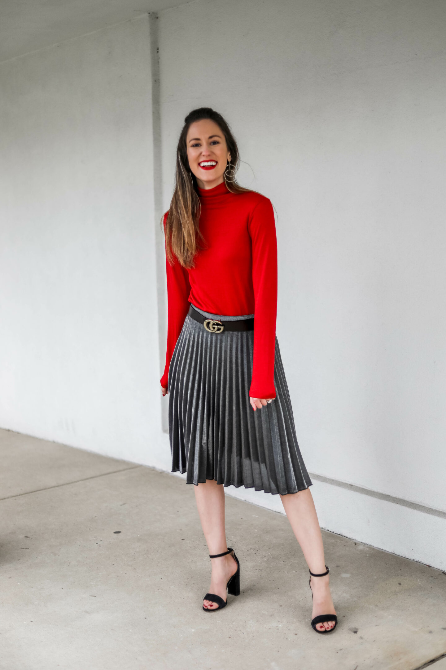 AFFORDABLE HOLIDAY LOOK - Pleated Skirt Outfit from Target on Coming Up Roses