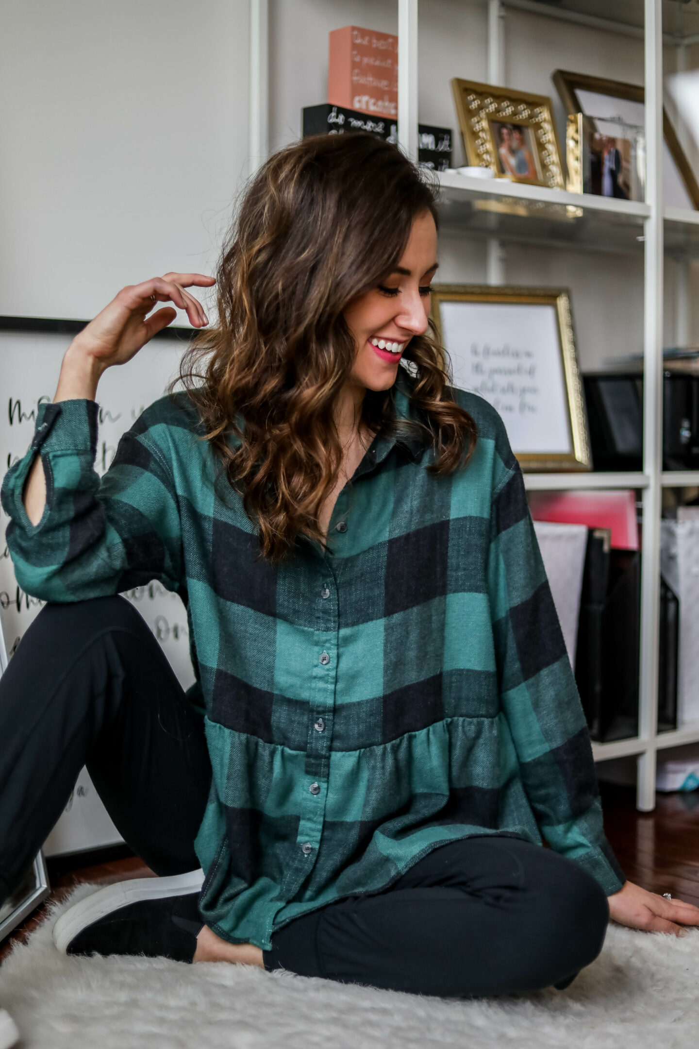 American Eagle peplum flannel - on Coming Up Roses
