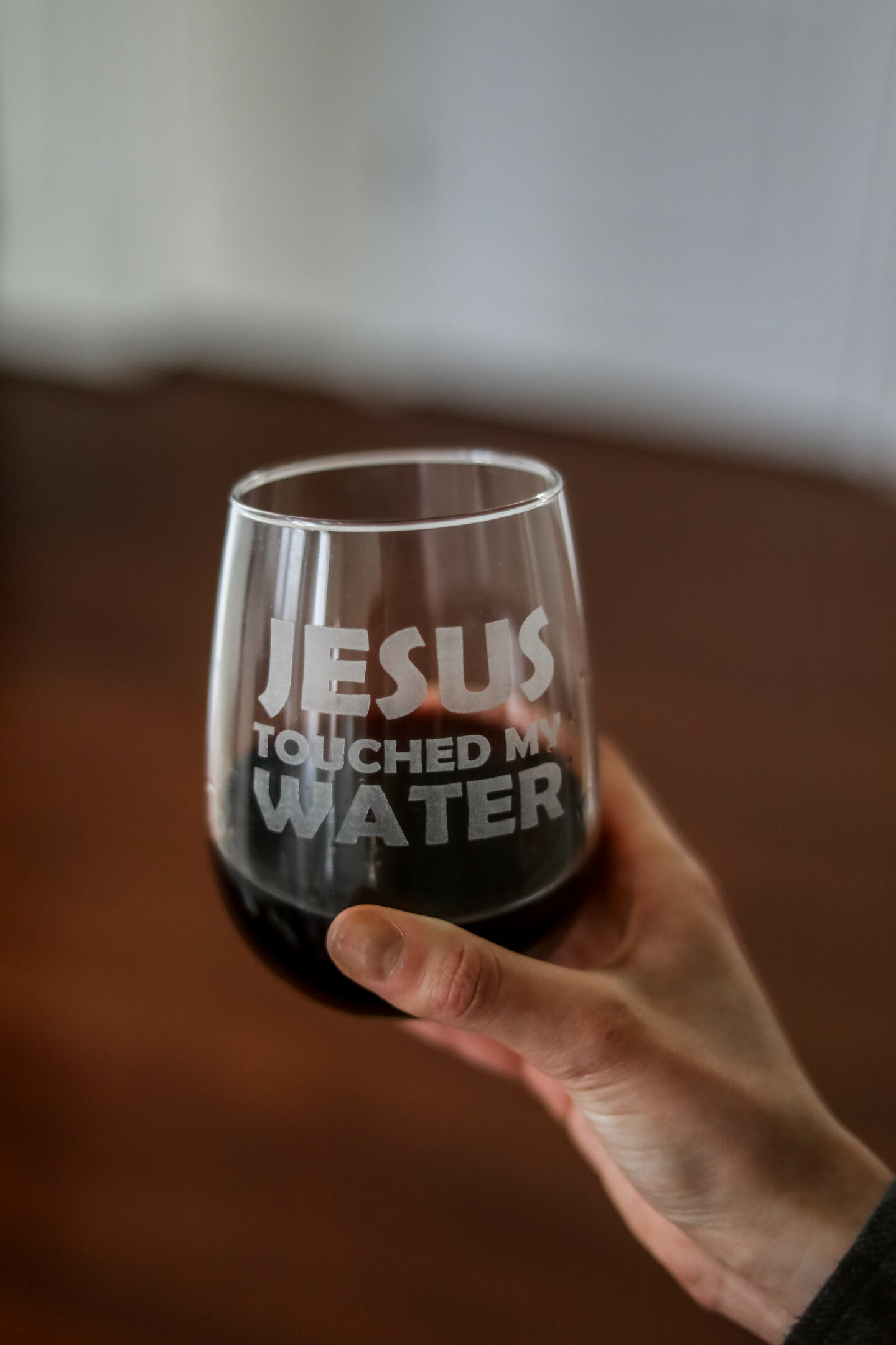 Jesus Touched My Water wine glass - funny wine glass in Monthly Favorites on Coming Up Roses