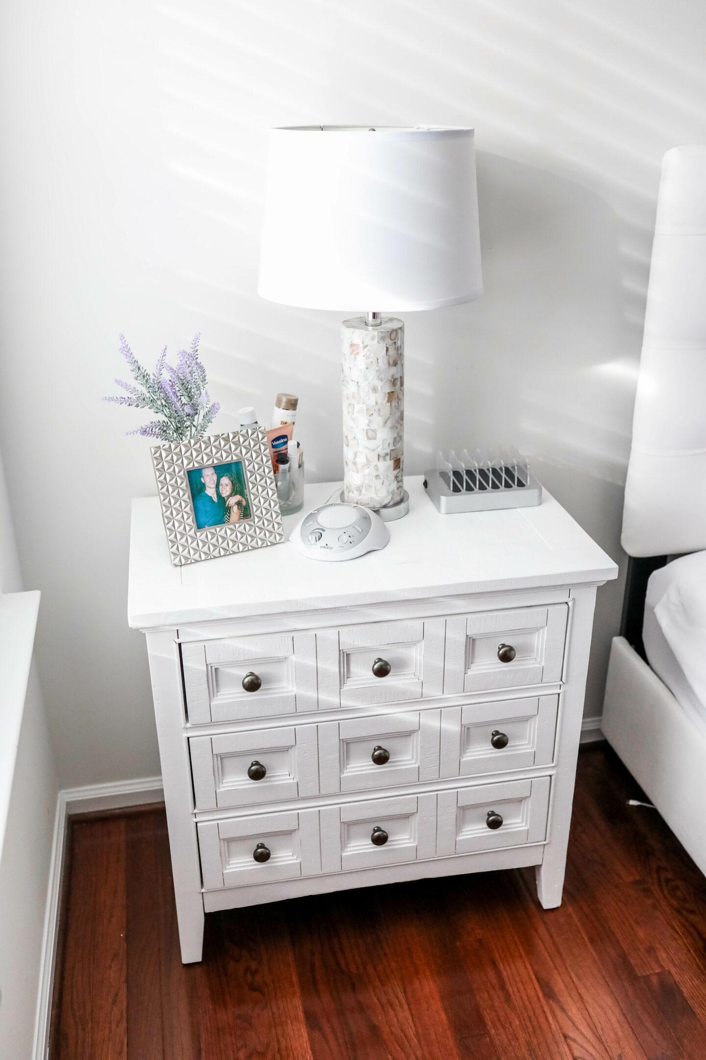 White master bedroom set nightstand - Raymour & Flanigan nightstand