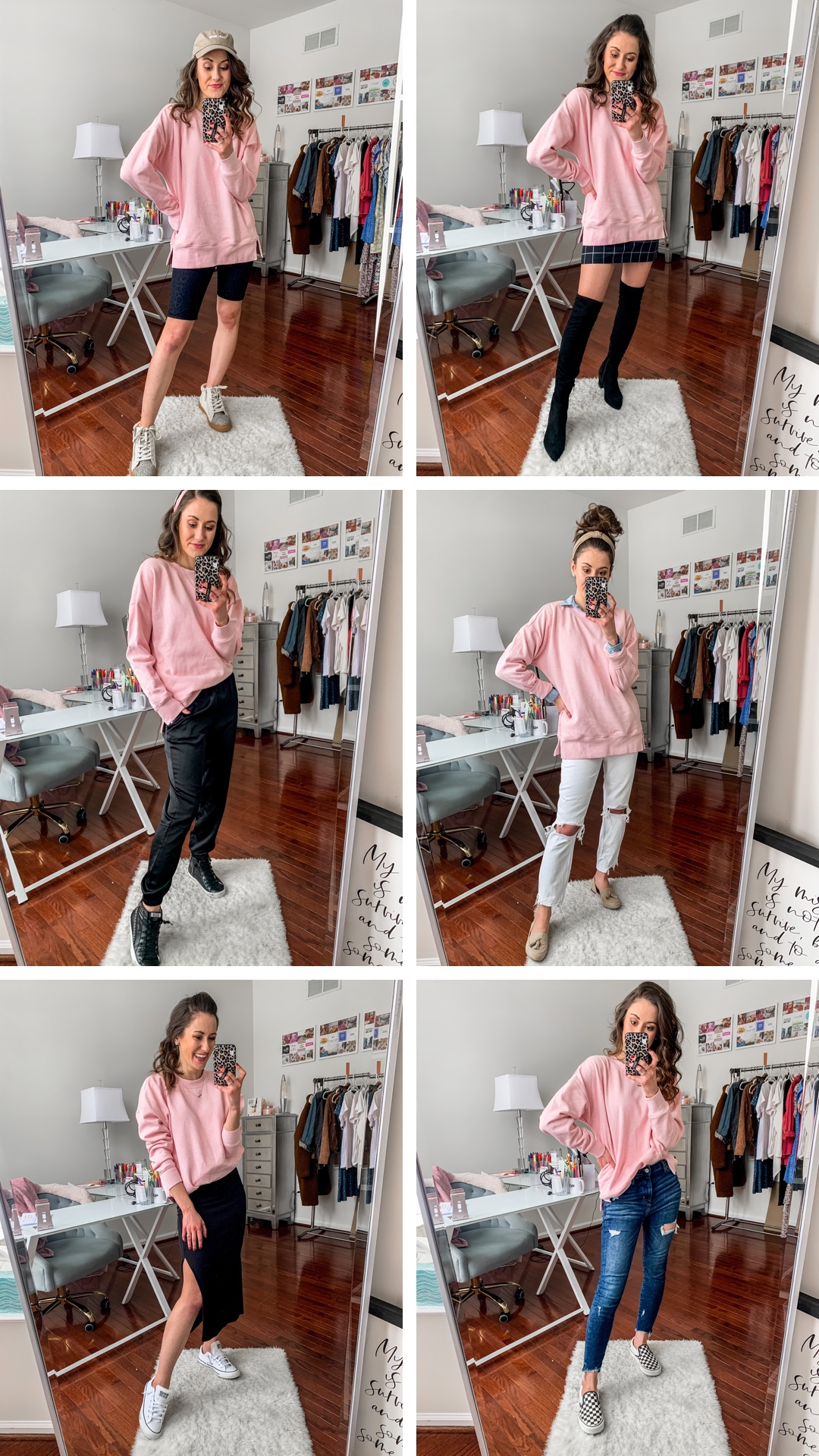 8 CUTE WAYS TO WEAR YOUR FAVORITE SWEATSHIRT - Sweatshirt Outfit Ideas on Coming Up Roses