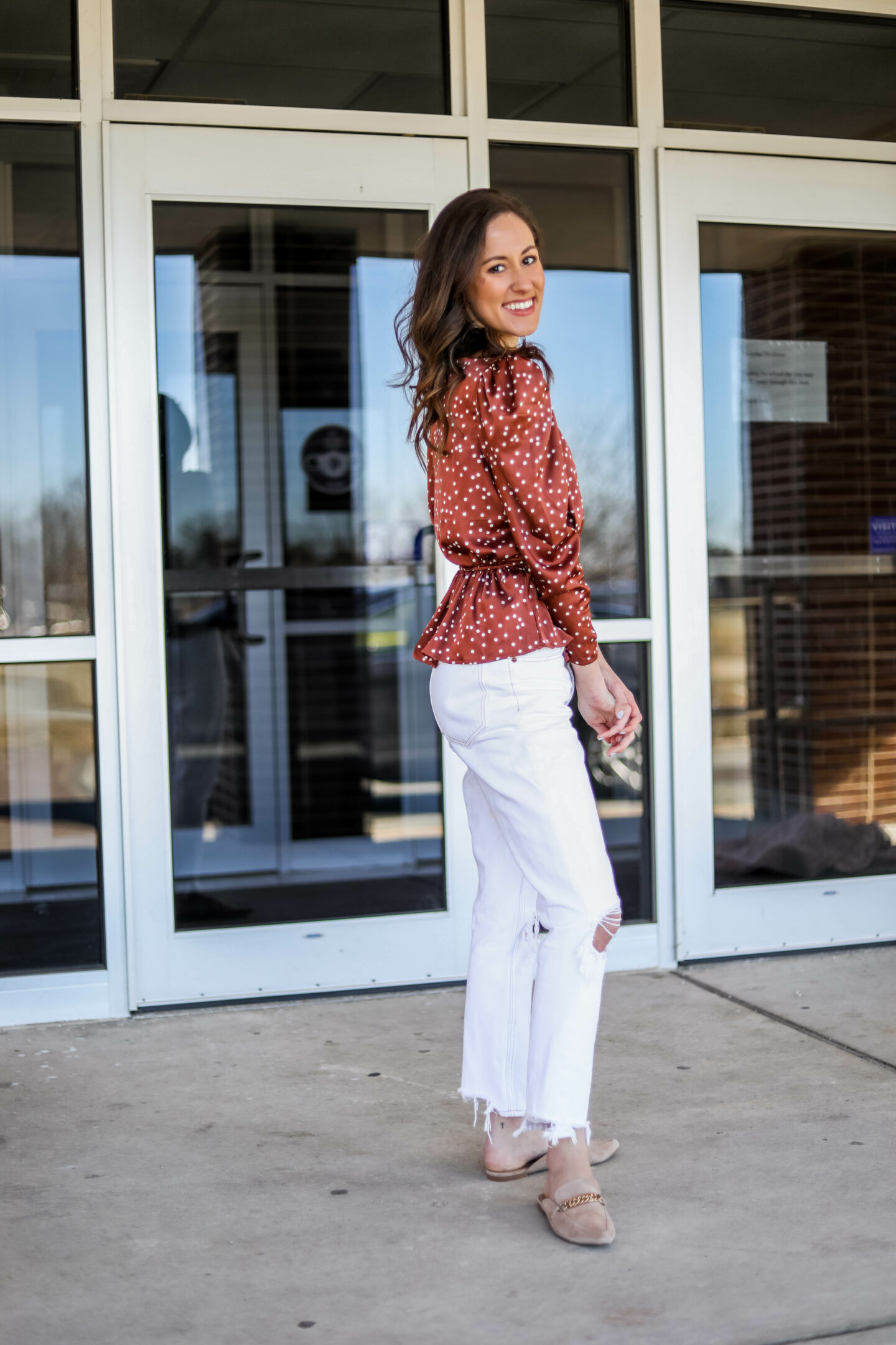 Polka dot top outfit from Walmart fashion on Coming Up Roses