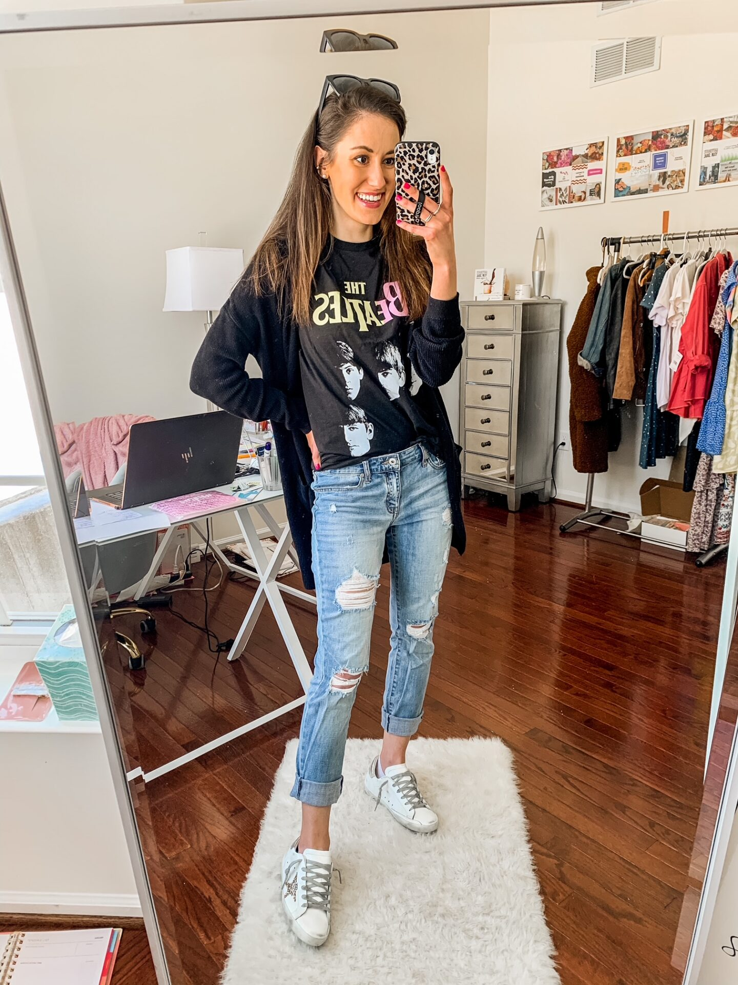 WALMART FASHION HAUL FOR SPRING - Beatles tee + distressed boyfriend jeans on Coming Up Roses