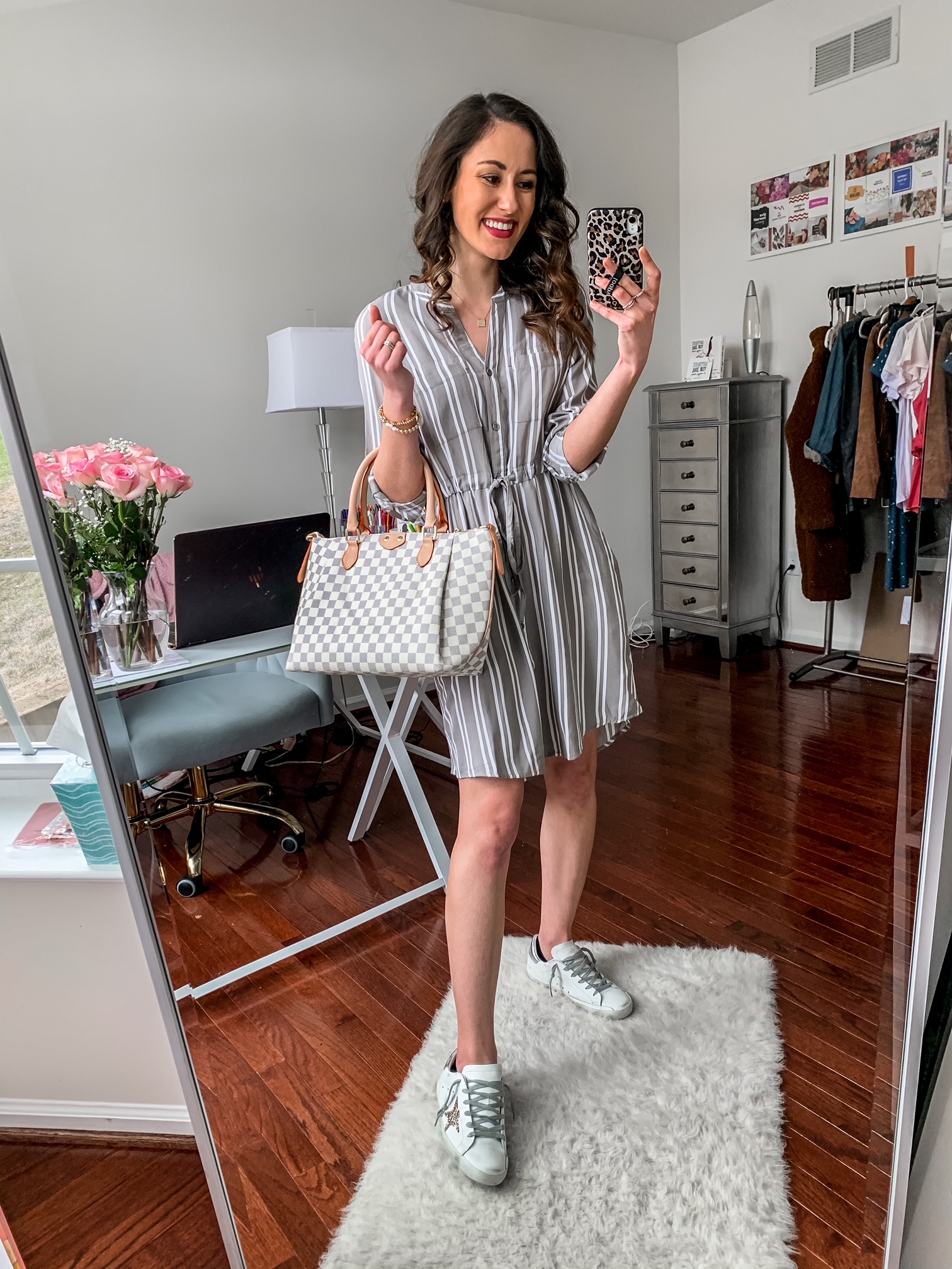 WALMART FASHION HAUL FOR SPRING - All under $50! - striped dress outfit with louis vuitton dupe bag