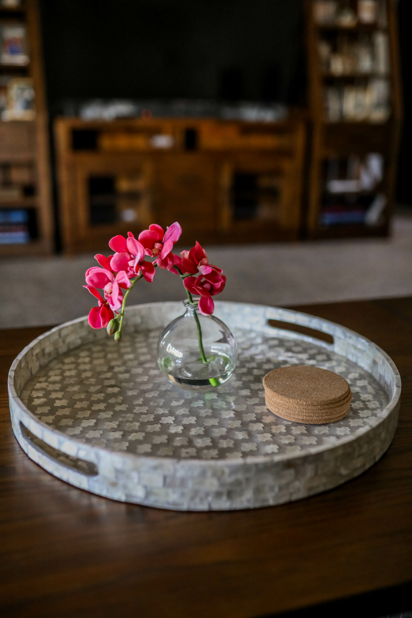 Fake flower for a coffee table, from Raymour & Flanigan - LIVING ROOM MAKEOVER on Coming up Roses