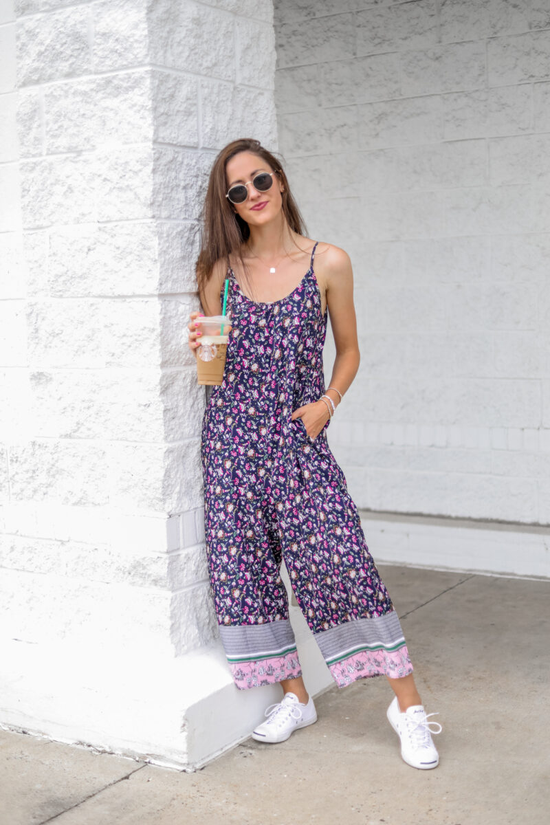 $17 Amazon jumpsuit – Floral prints into fall!